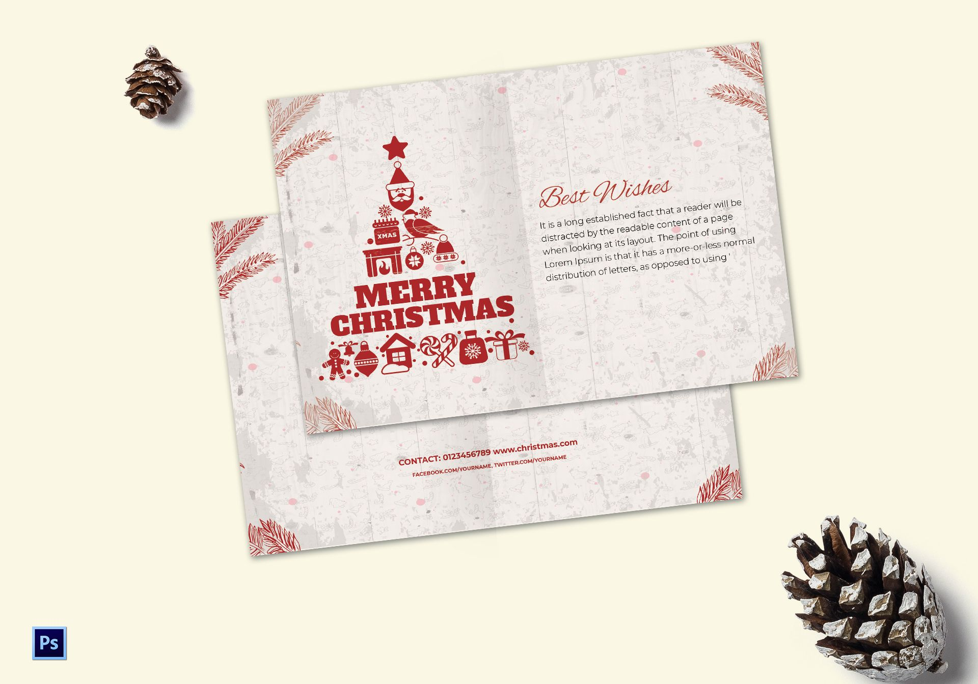 Christmas Wishes Thank You Card Template