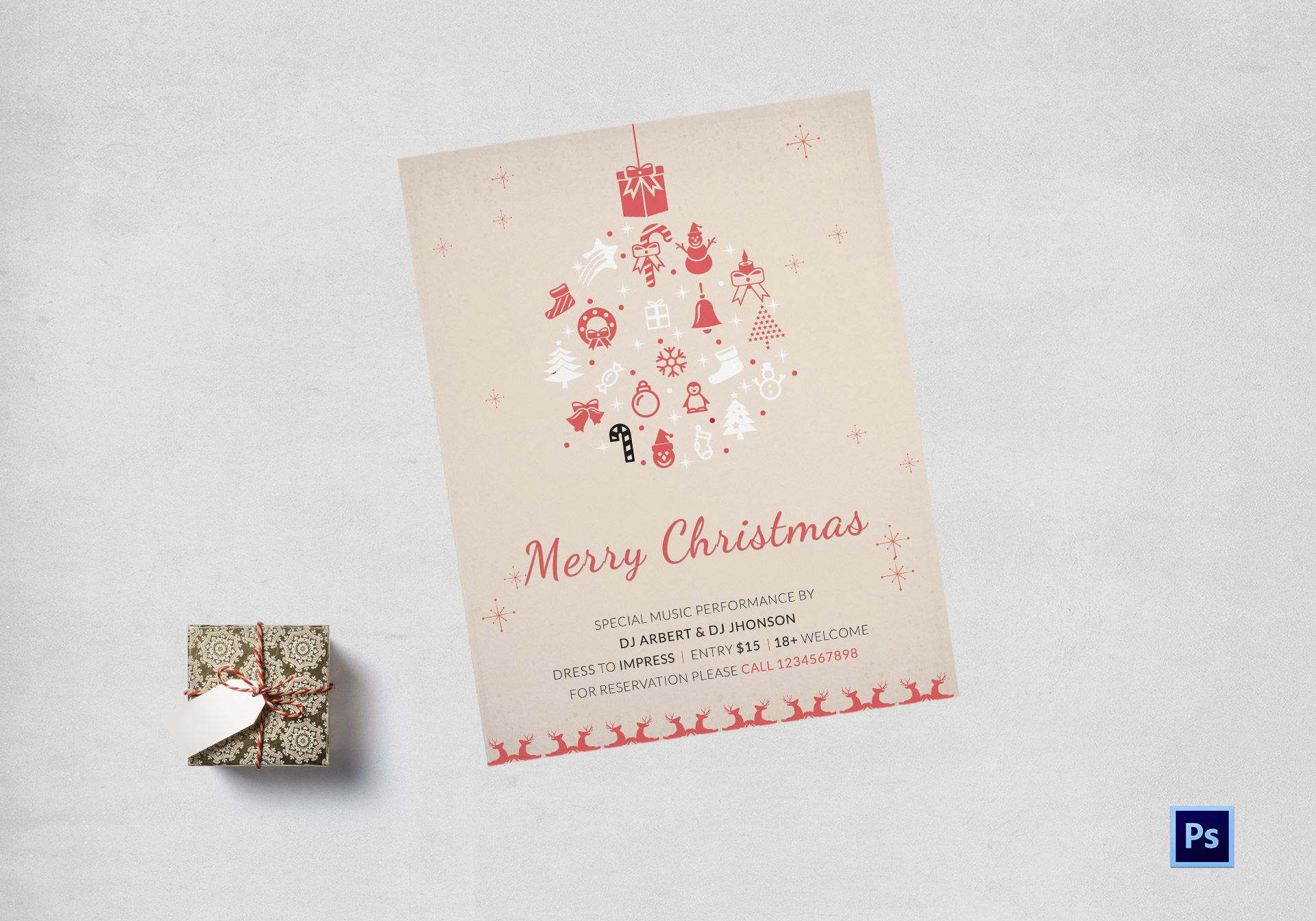Pink Christmas Party Flyer Template