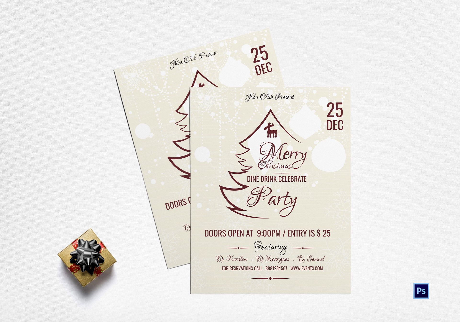 Merry Christmas Dine In Party Flyer