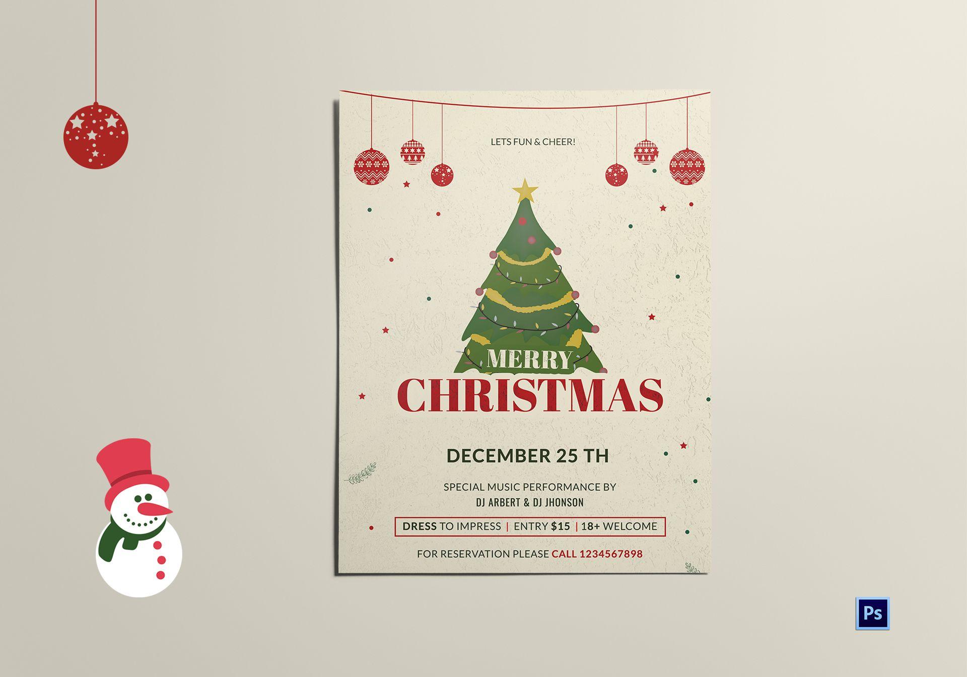 Xmas Tree Flyer Template In Adobe Photoshop