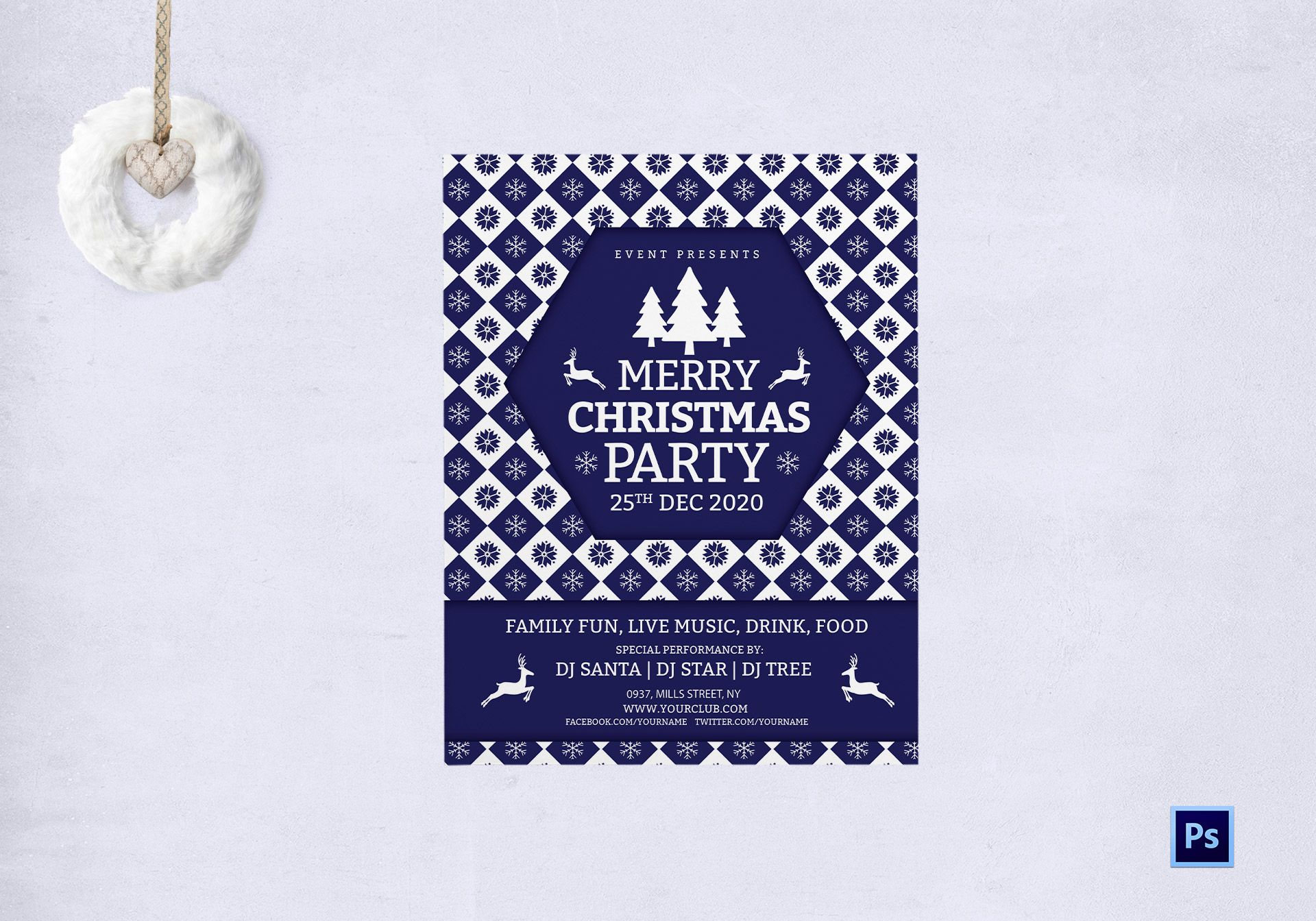 Merry Christmas DJ Party Flyer Template