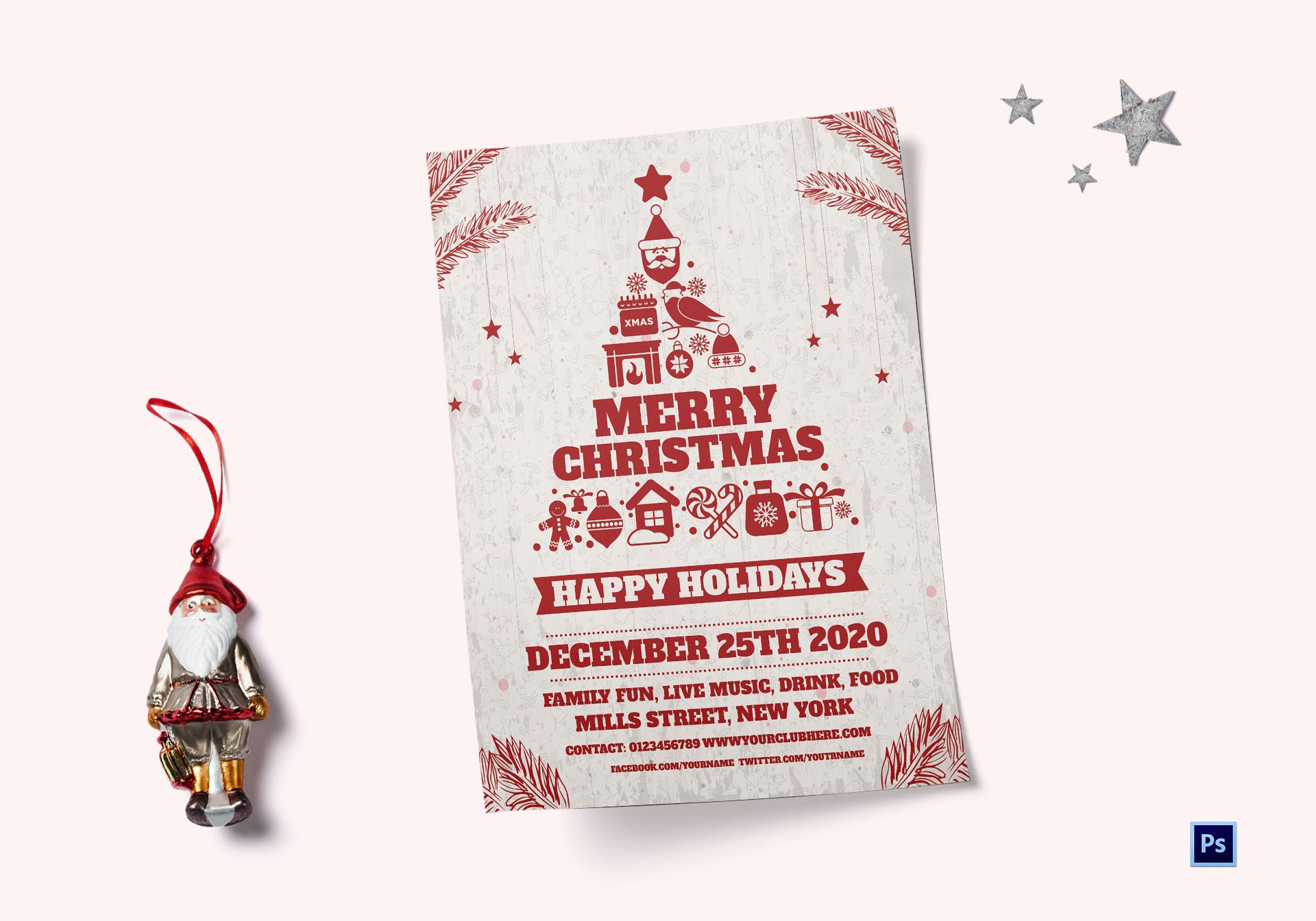 Happy Holidays Christmas Flyer Template
