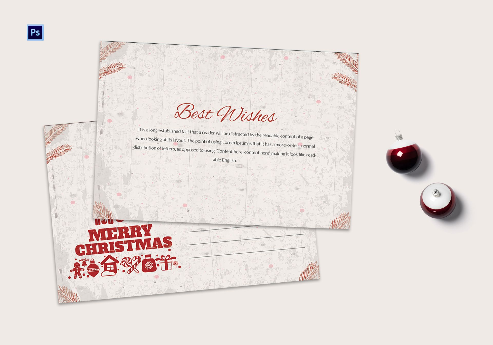 Christmas Best Wishes Postcard Template