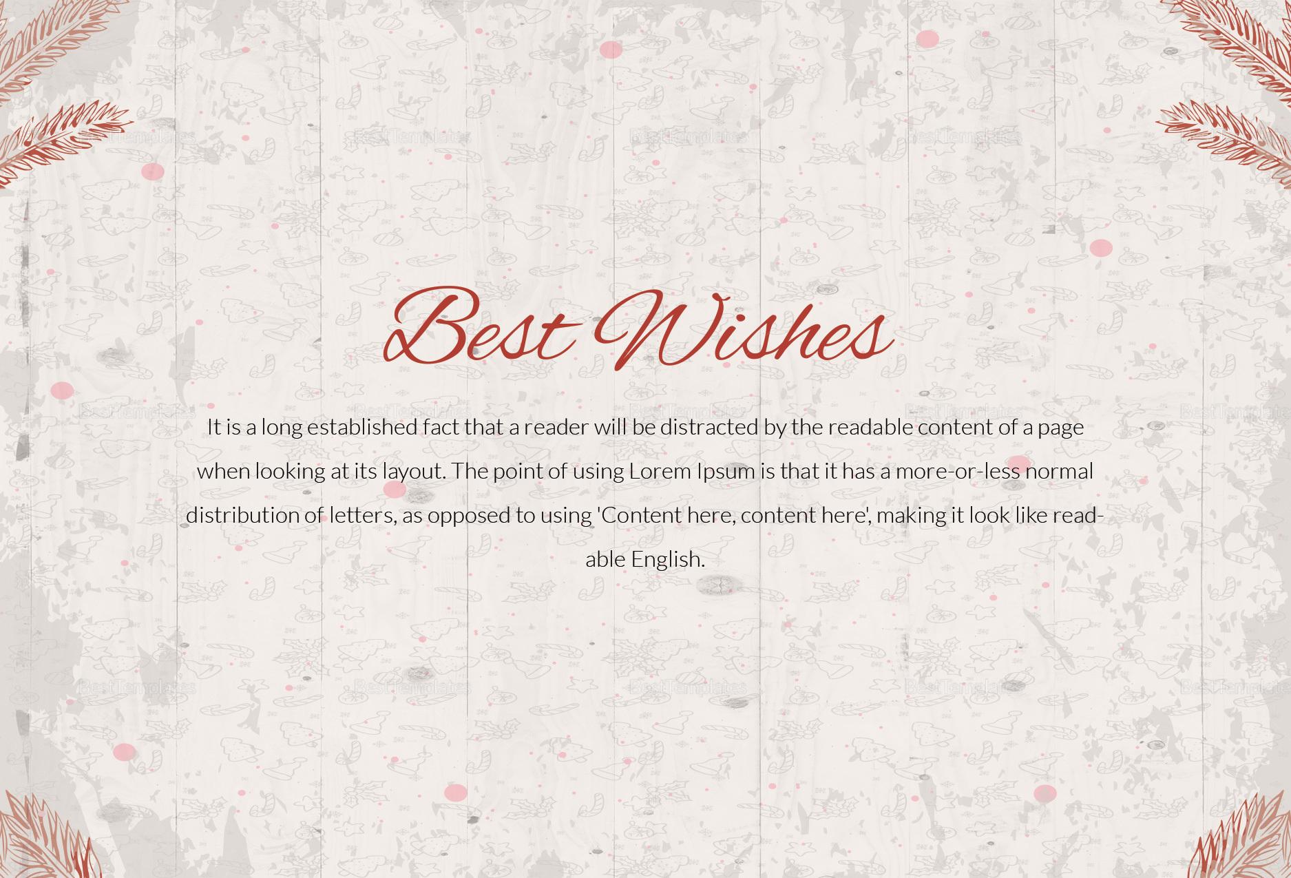 Editable Christmas Best Wishes Postcard