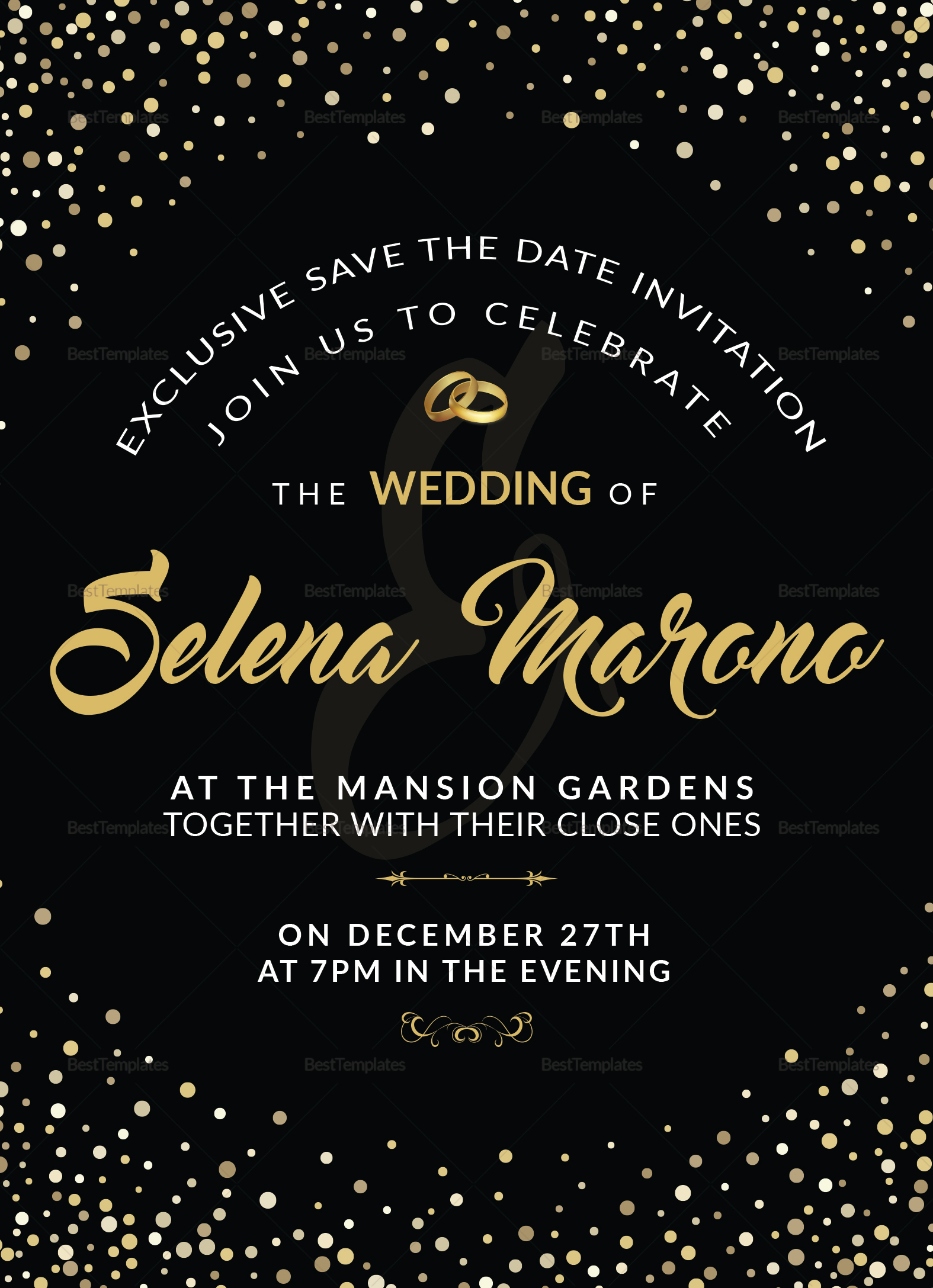 Black And Gold Wedding Invitation Card Design Template In Word Psd
