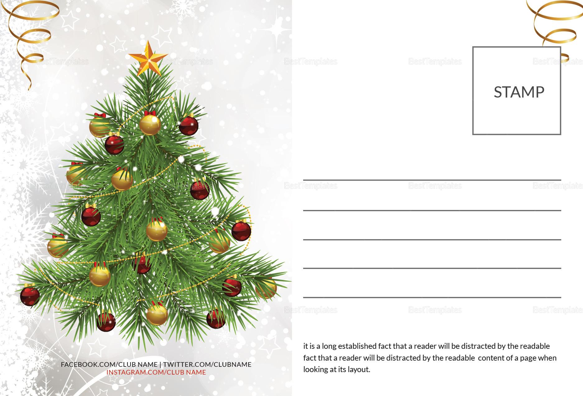 Santa Christmas Postcard Template In Adobe Photoshop