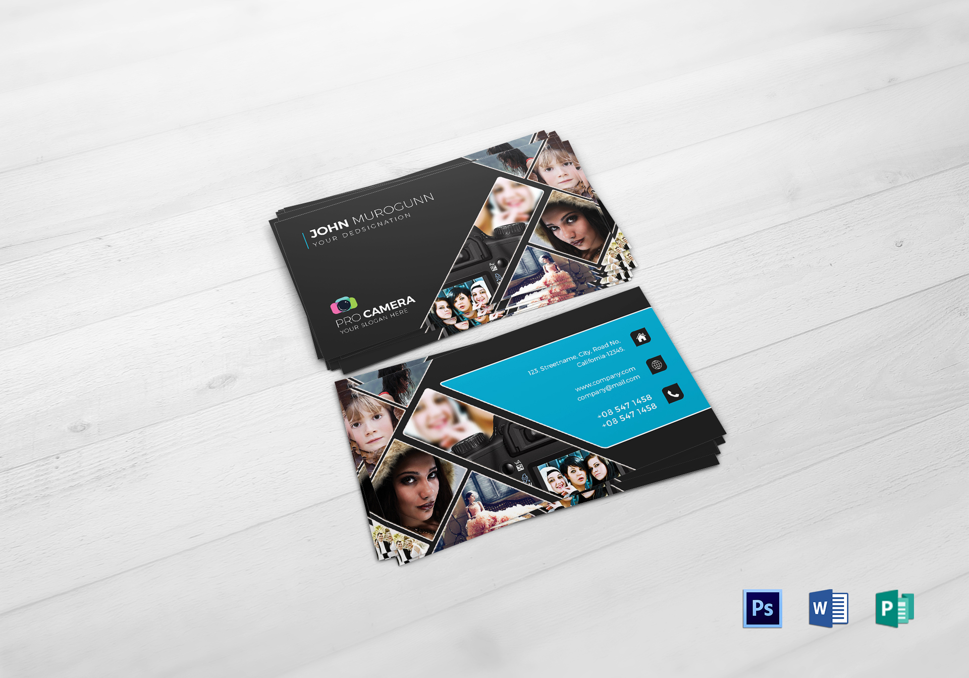 Modern Photography Business Card Design Template In PSD Word - Photography business card templates