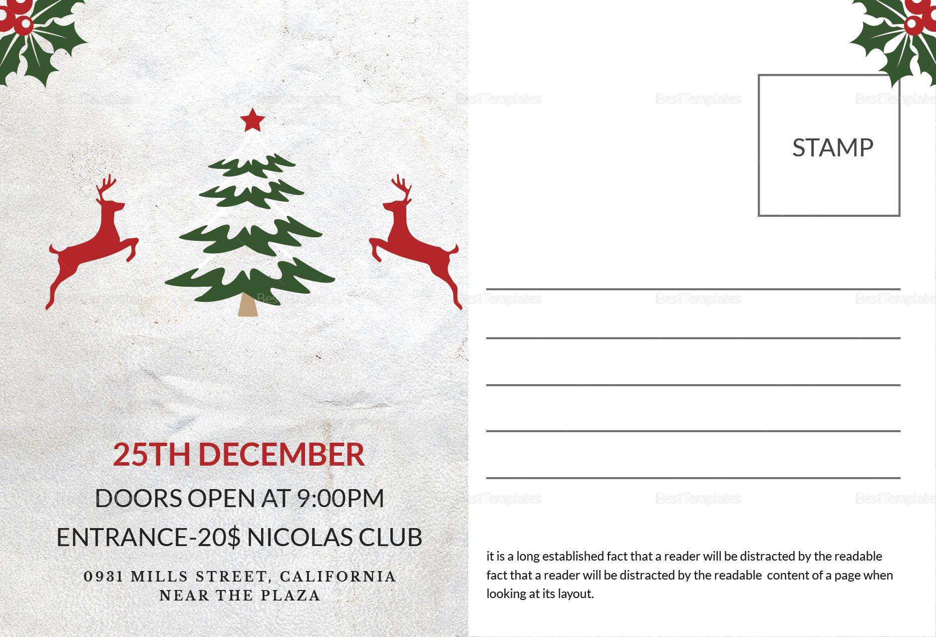 Printable Christmas Postcard Template In Adobe Photoshop