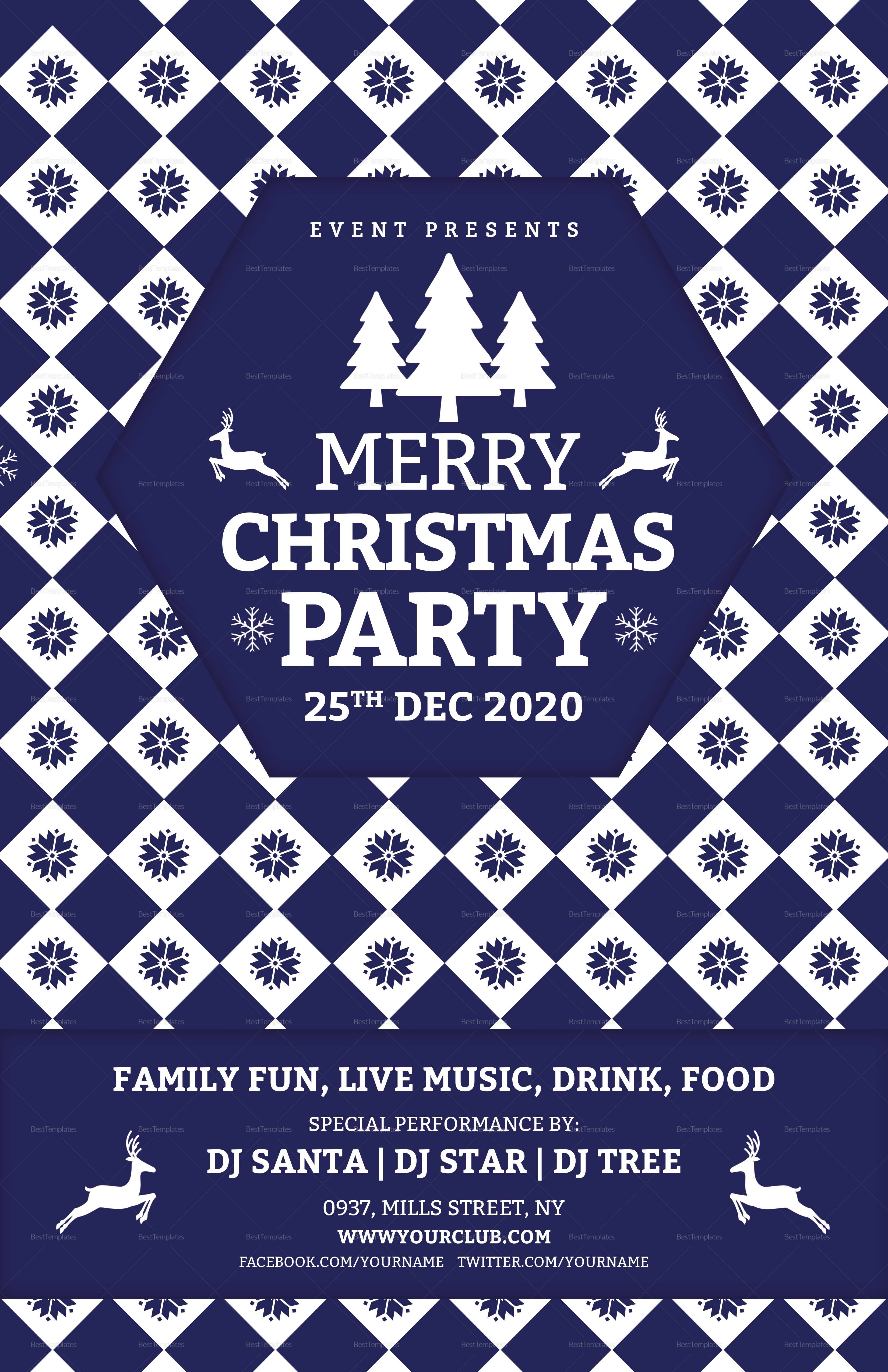 Christmas Party Poster.Colorful Christmas Party Poster
