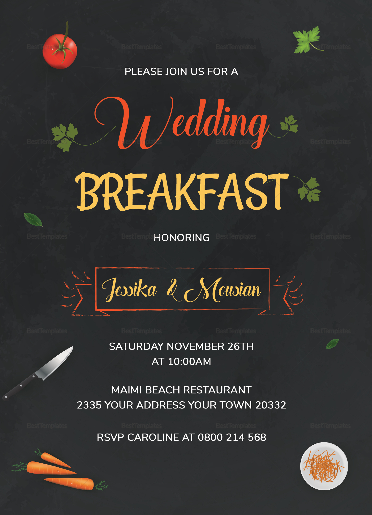 Wedding Breakfast Invitation Design Template