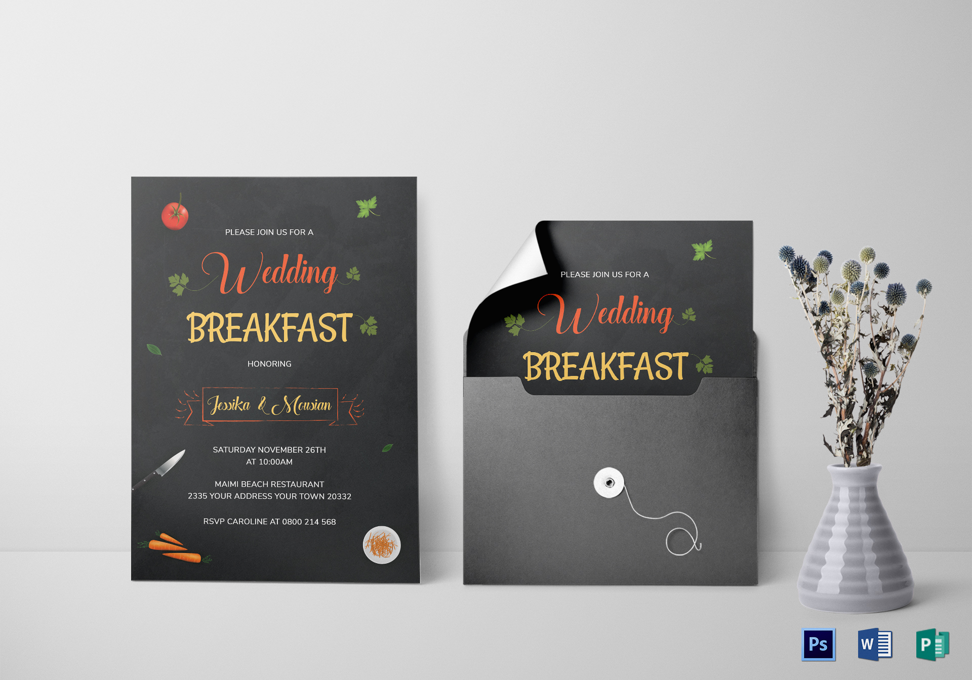 Wedding Breakfast Invitation Template