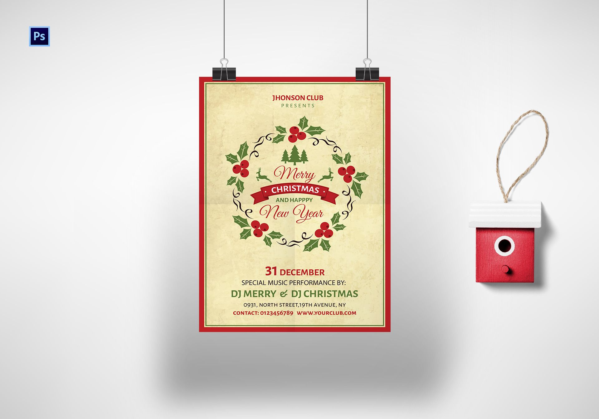 Merry Christmas & Happy New Year Poster Template