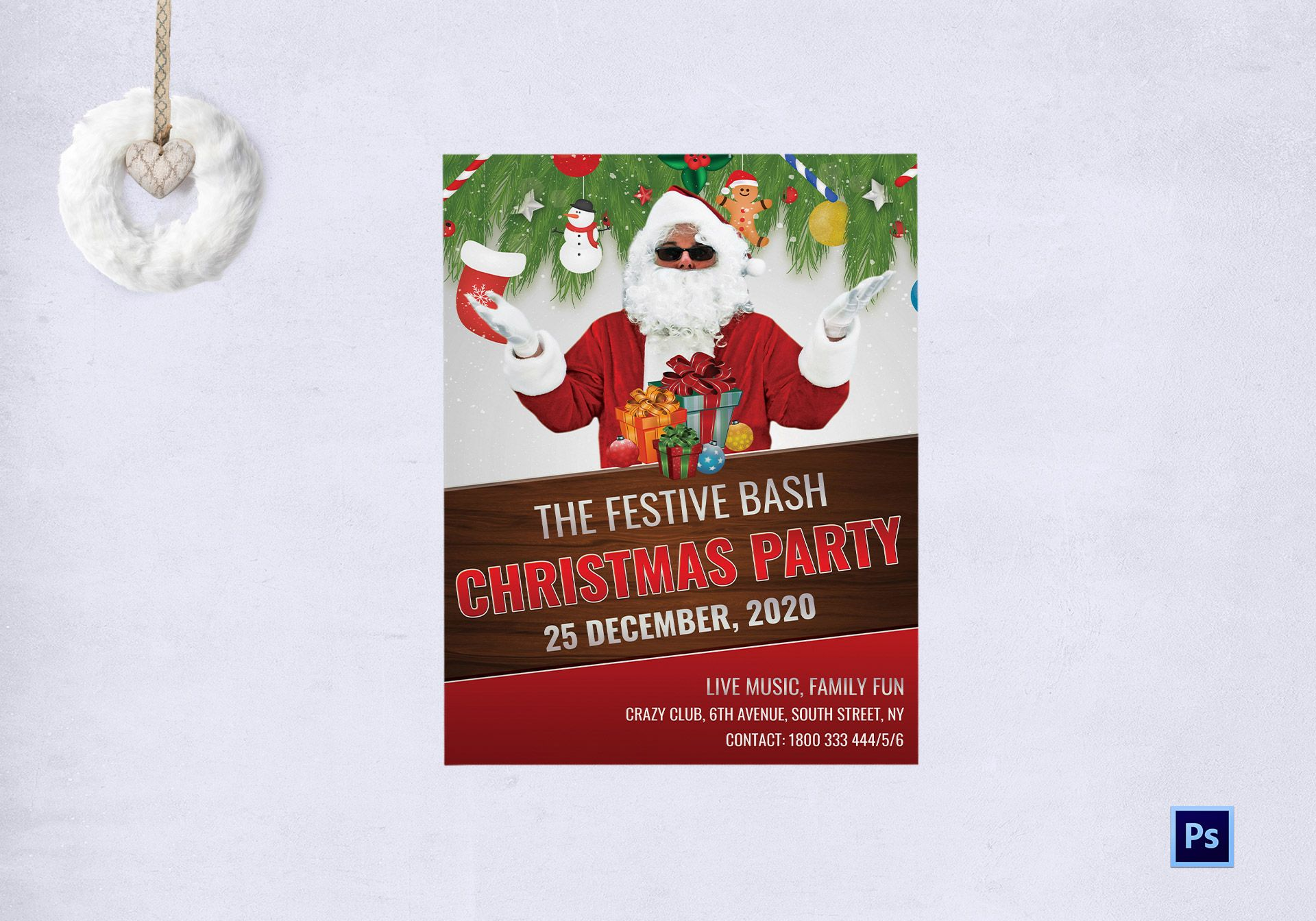 Christmas Party Flyer.Festive Bash Christmas Party Flyer