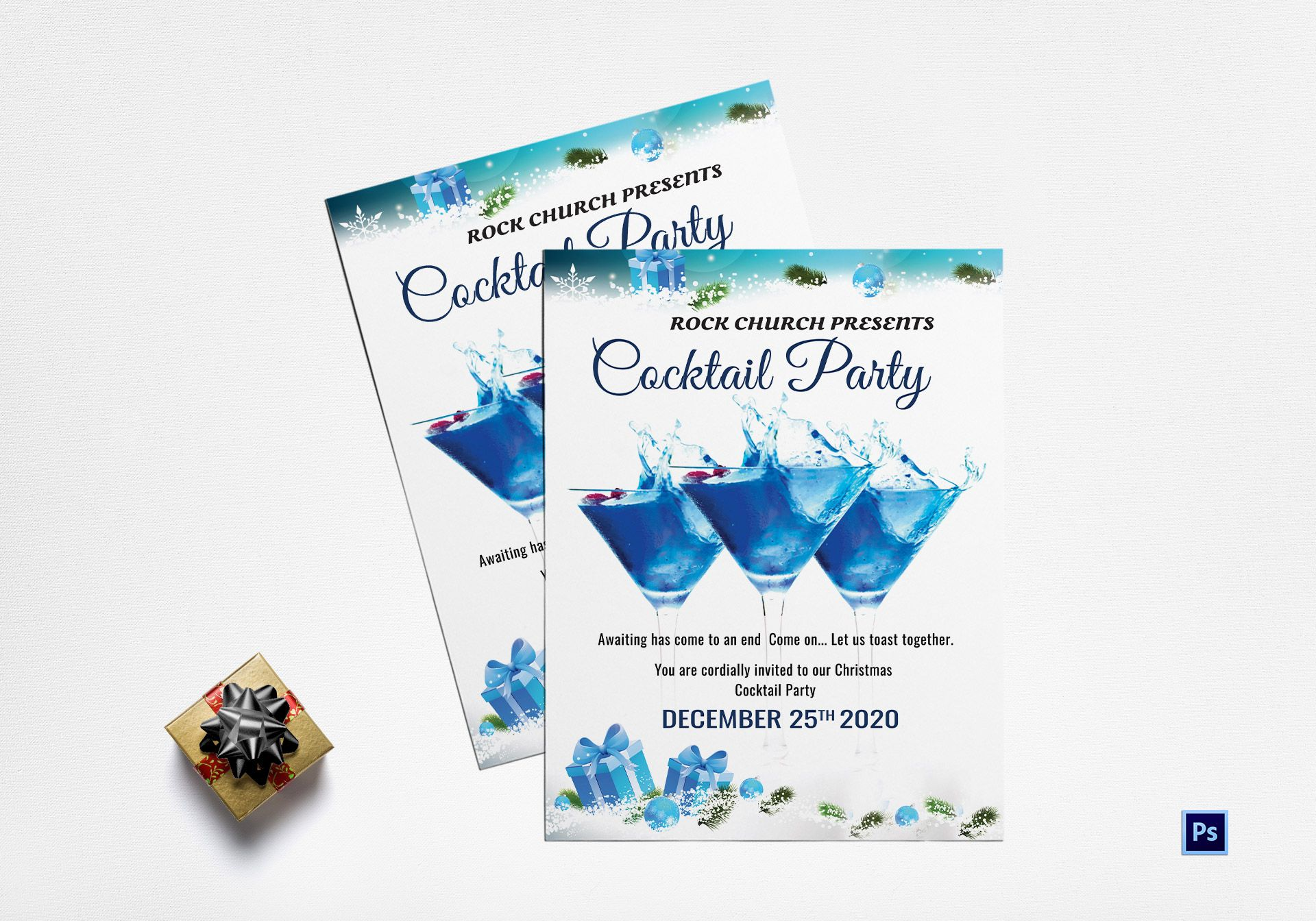 Christmas Cocktail Party Flyer Template