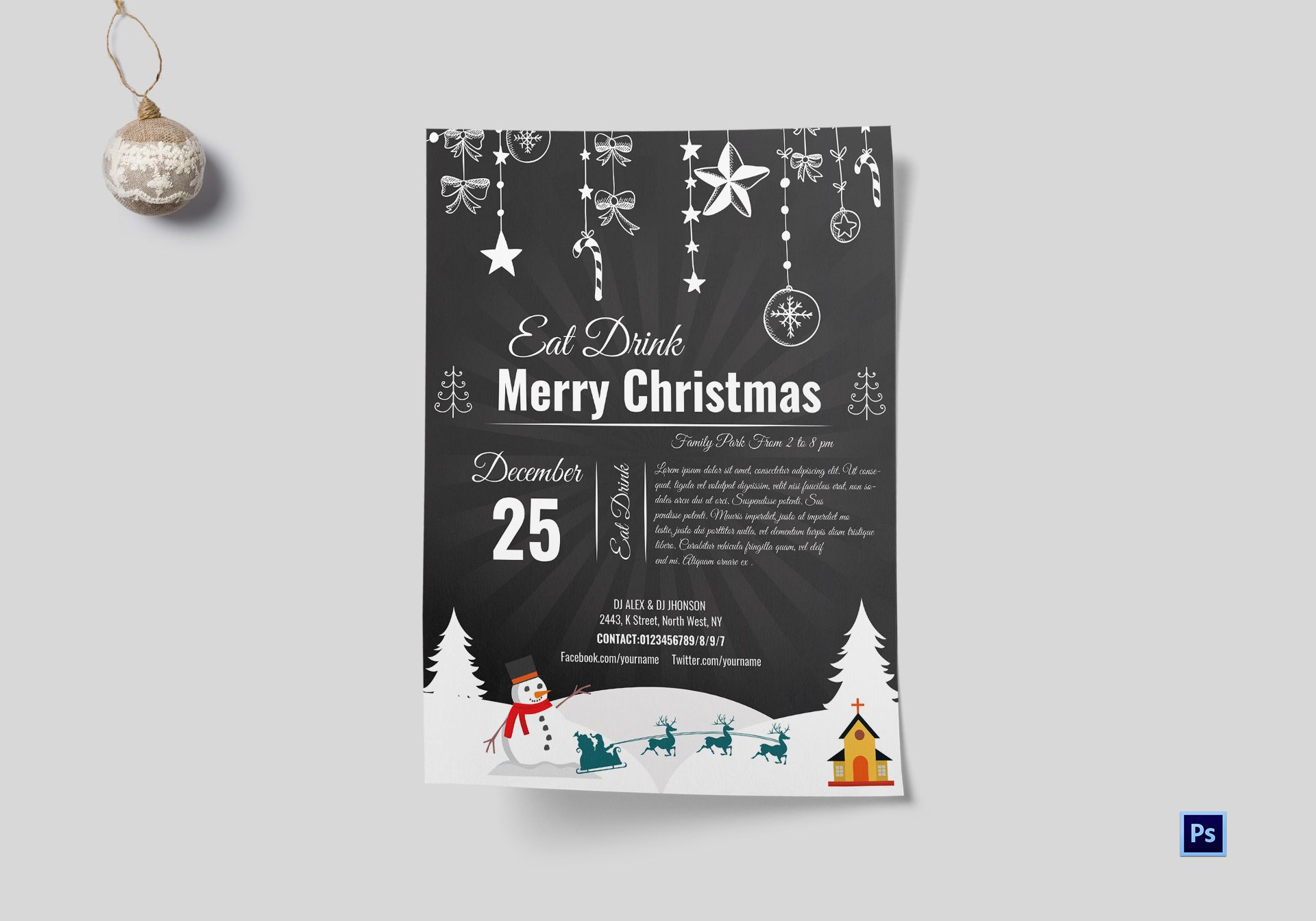 Chalkboard Style Christmas Flyer Template