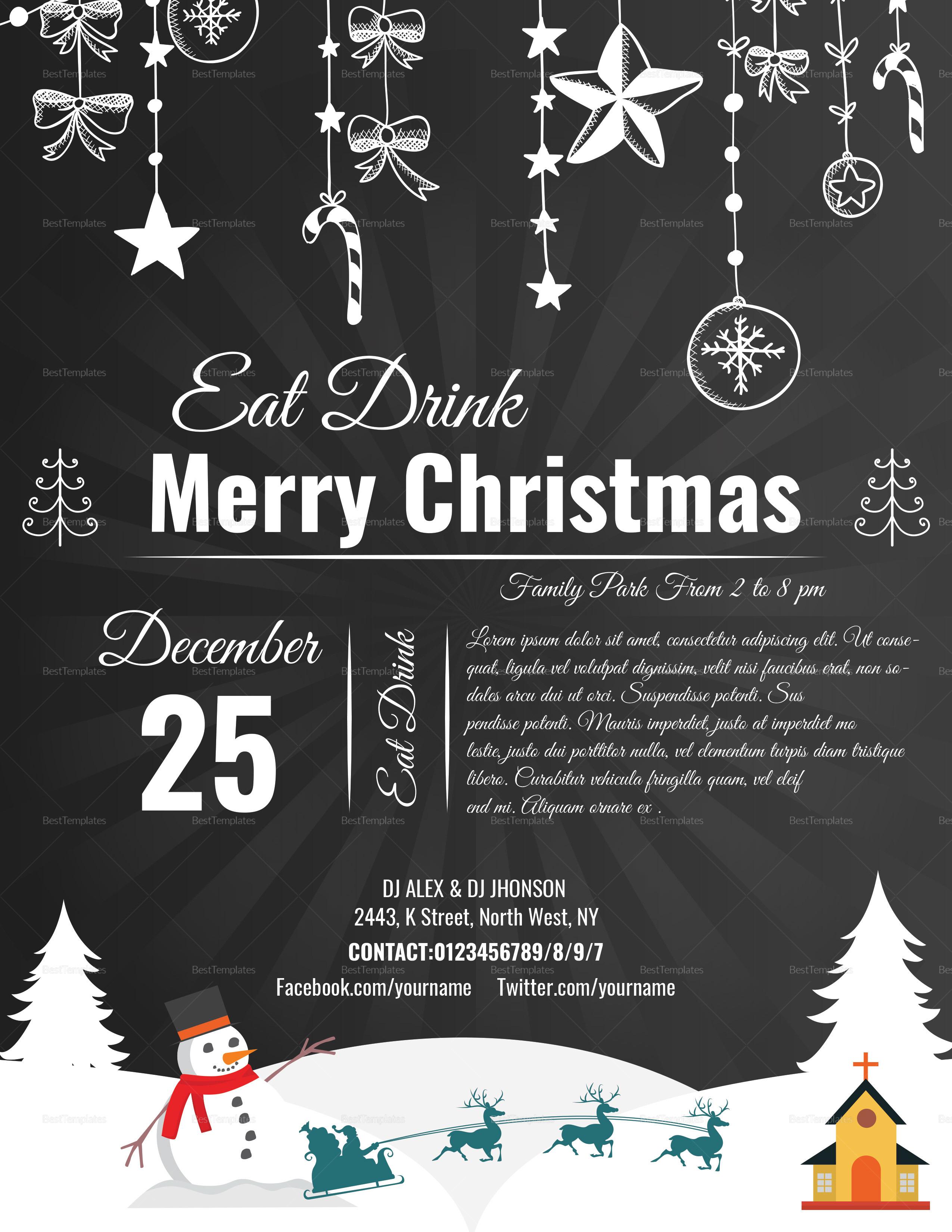 Chalkboard Style Christmas Flyer