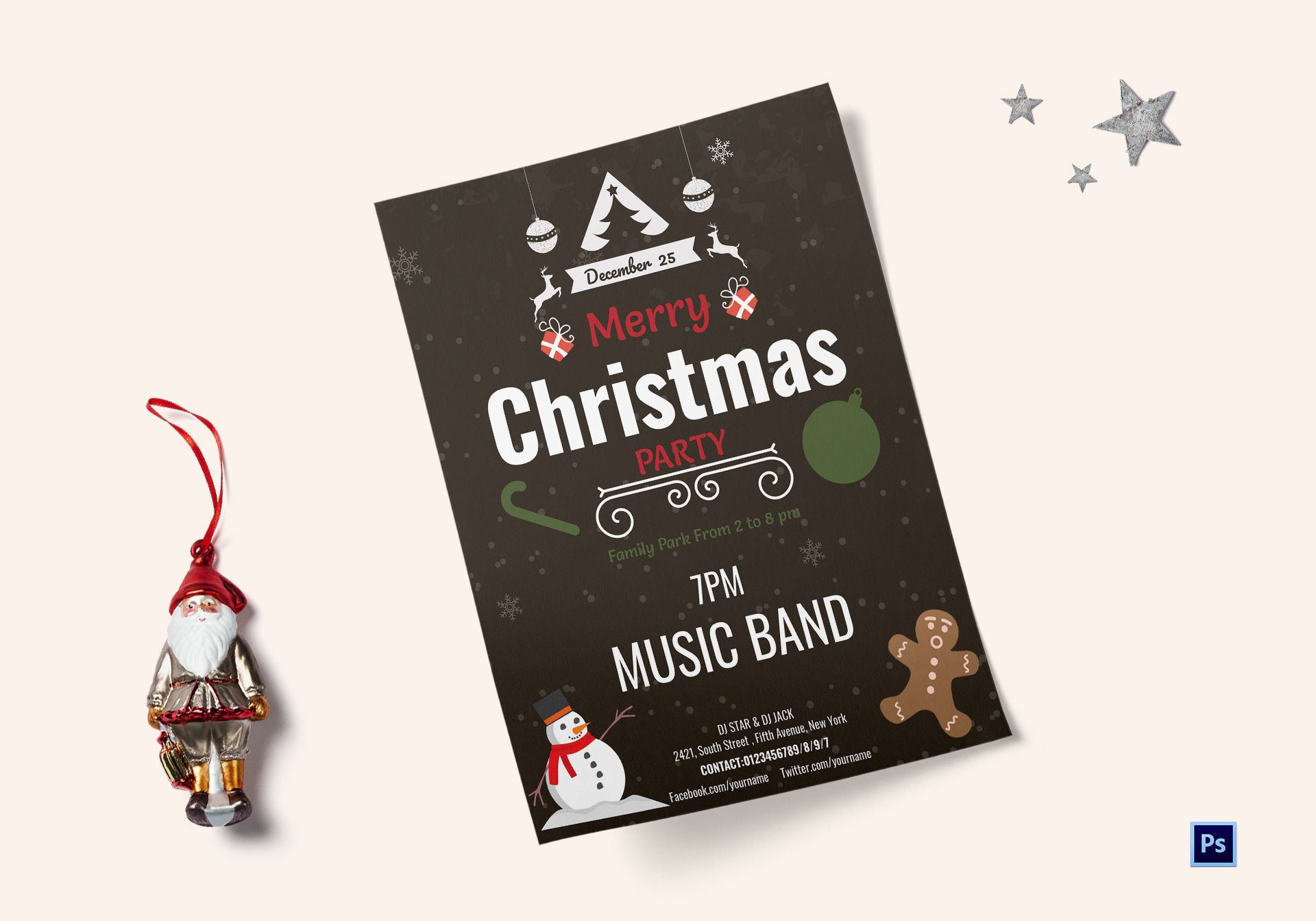 Christmas Party Flyer Template.Simple Christmas Party Flyer Template