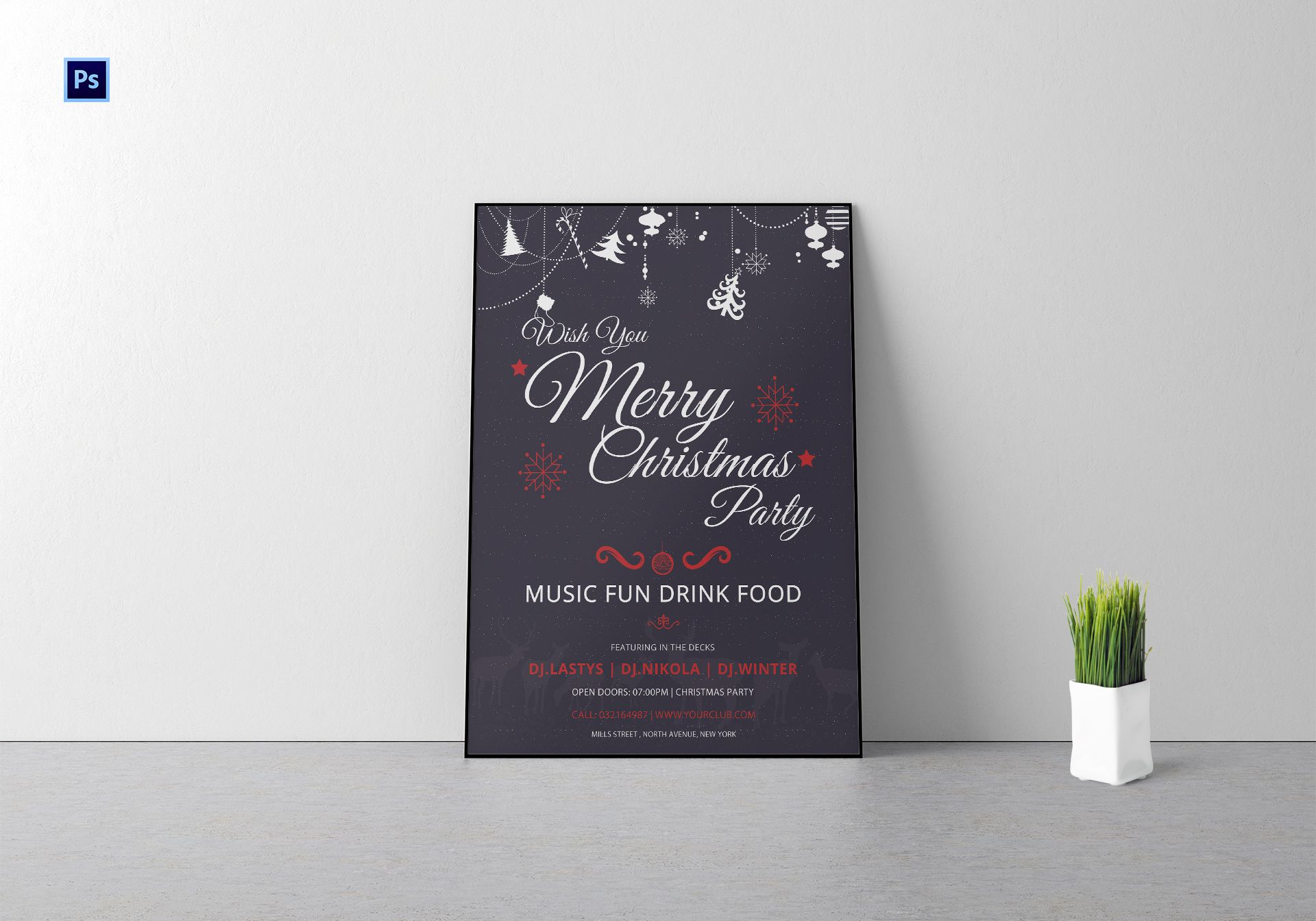 Christmas DJ Party Poster Template