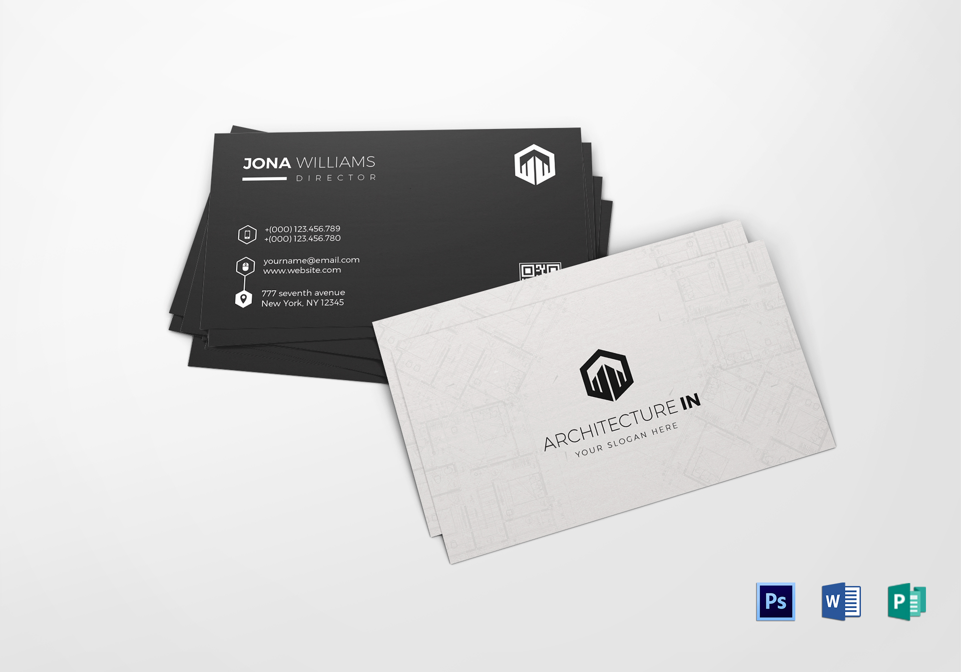 Simple Architect Business Card Design Template in Word, PSD, Publisher
