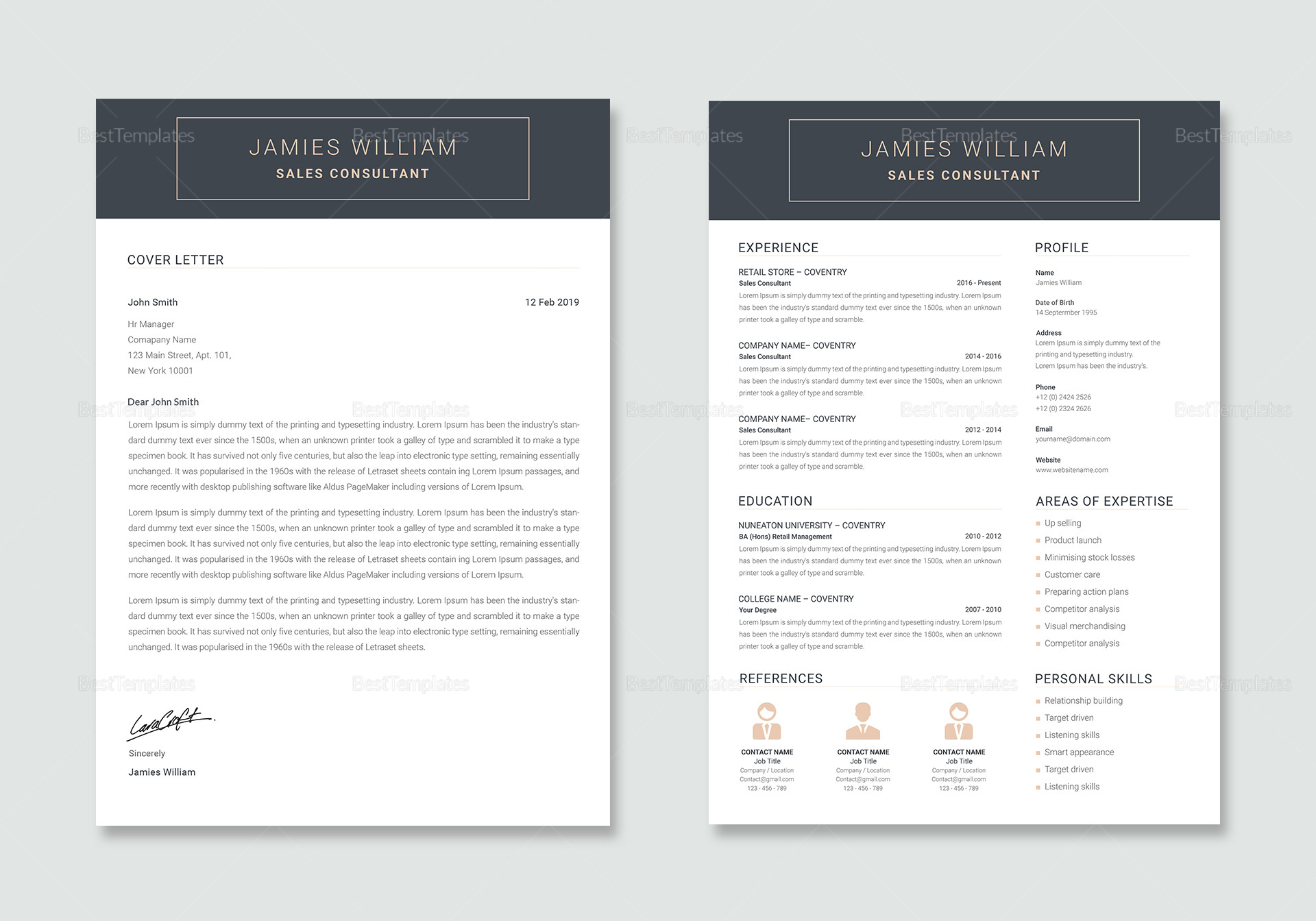 Creative Sales Consultant Resume and Cover letter