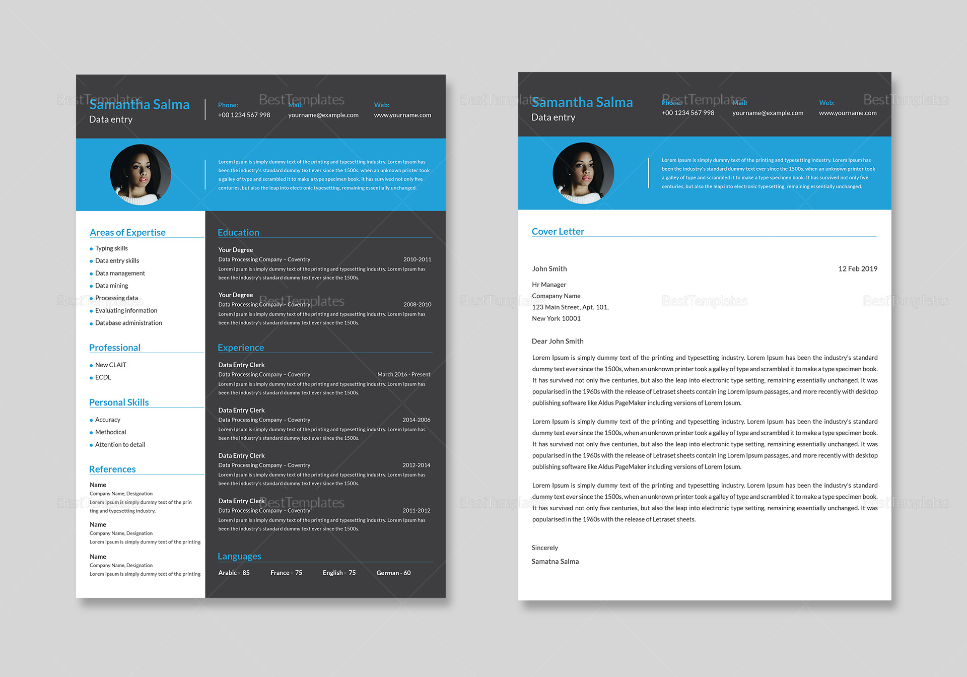 Data Entry Resume and Cover Letter