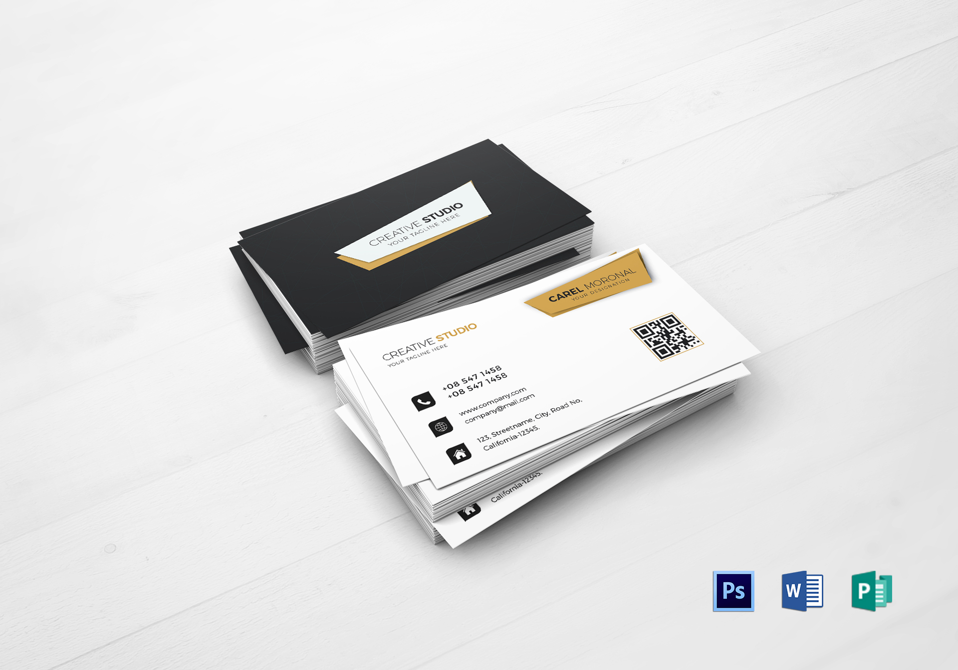 Professional Business Card Design Template In Psd Word Publisher
