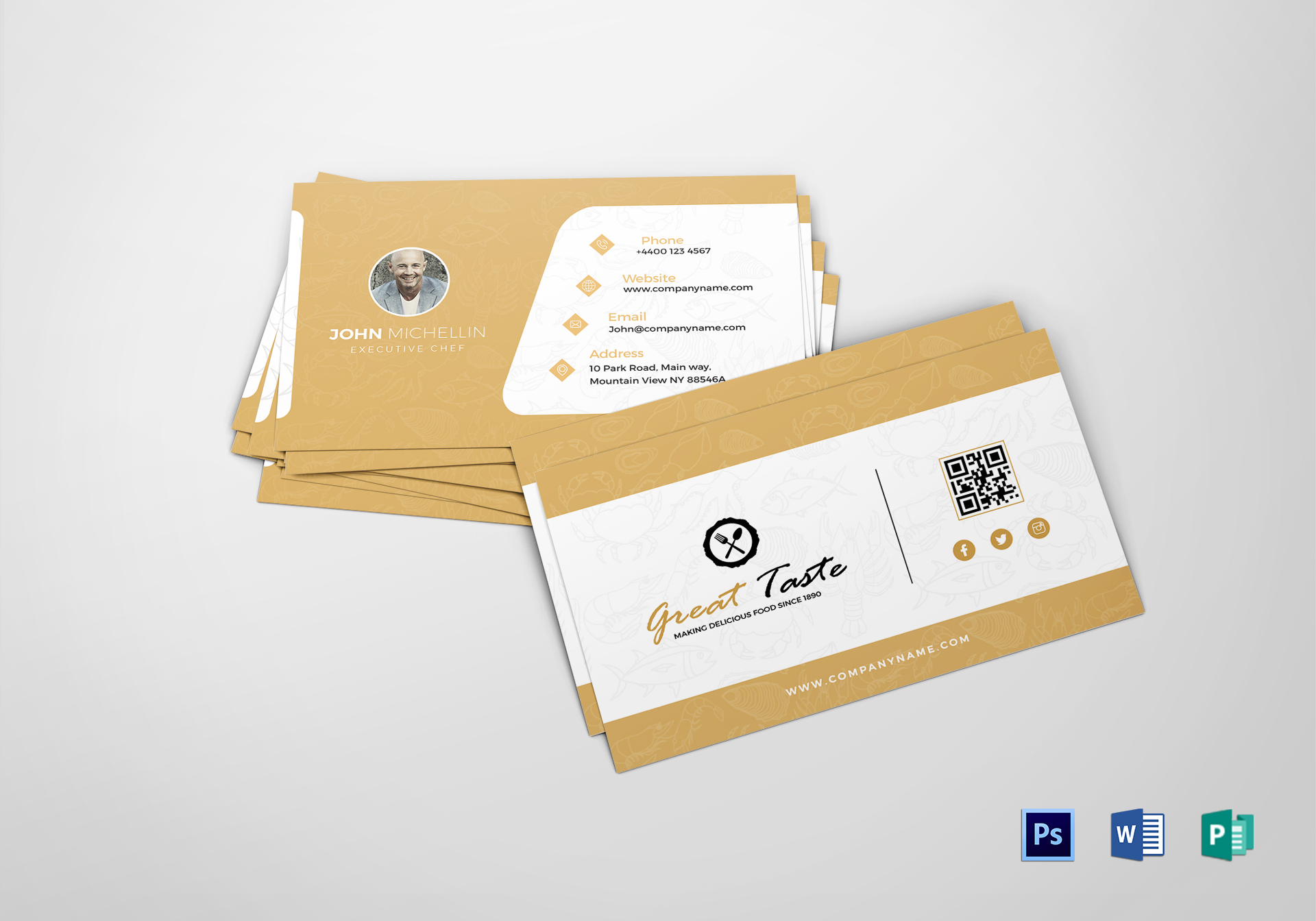 Restaurant chef business card design template in psd word publisher restaurant chef business card restaurant chef business card template accmission Images