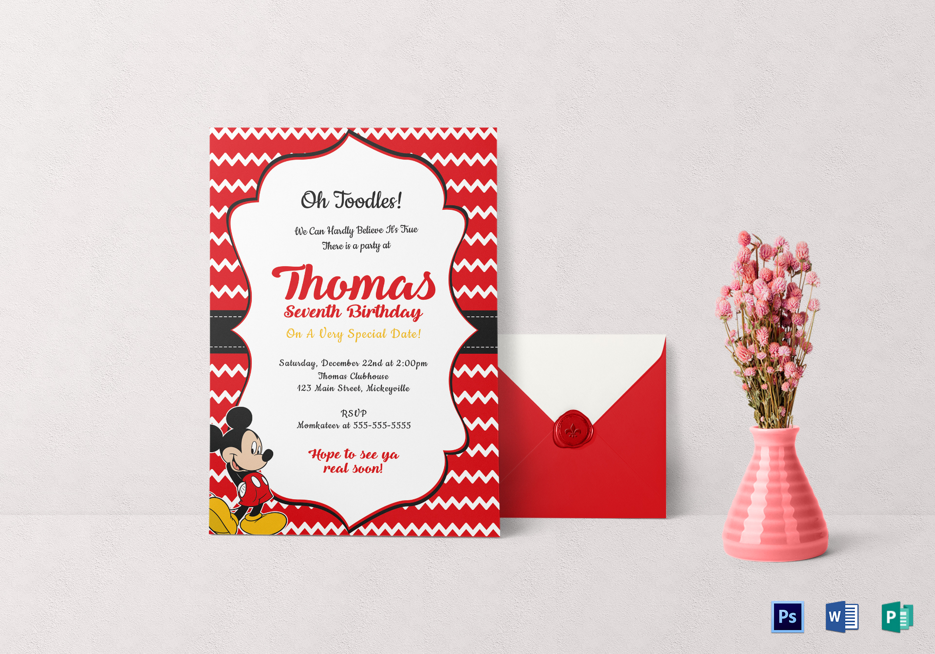 Editable Mickey Mouse Birthday Invitation Card Template