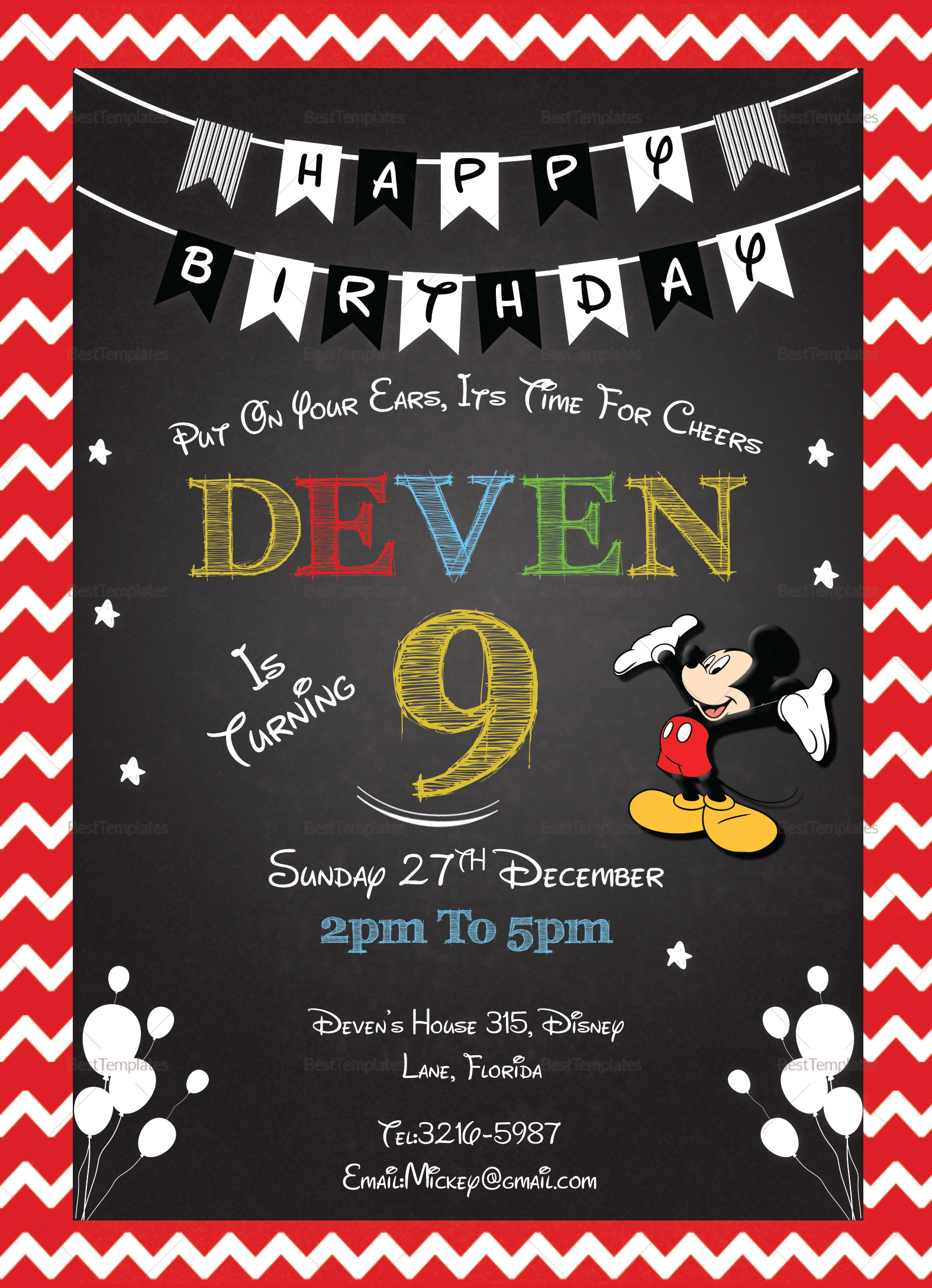 Mickey Mouse Chalkboard Invitation Card Design Template