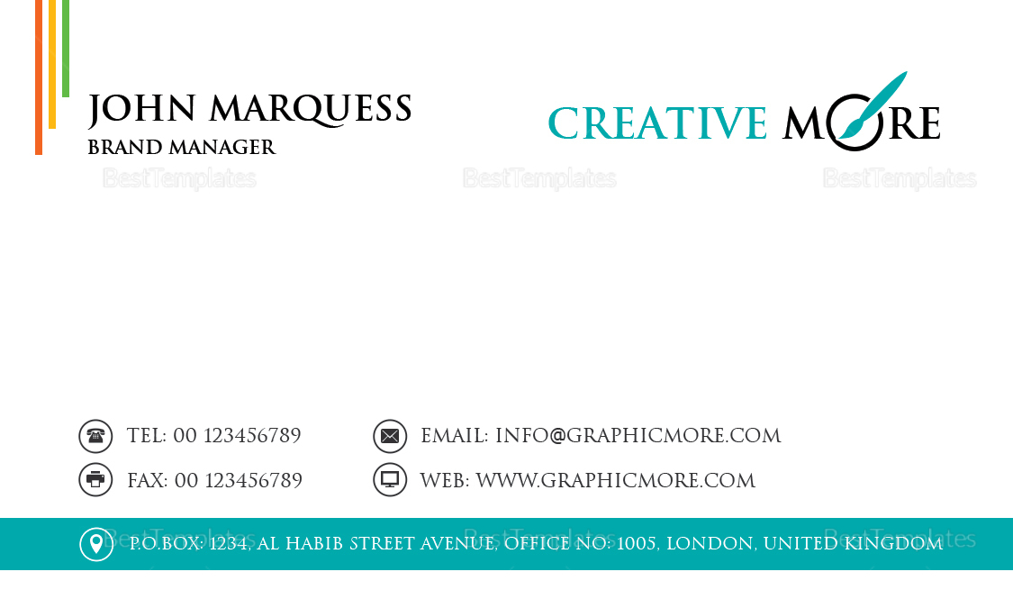 Brand Manager Business Card Template