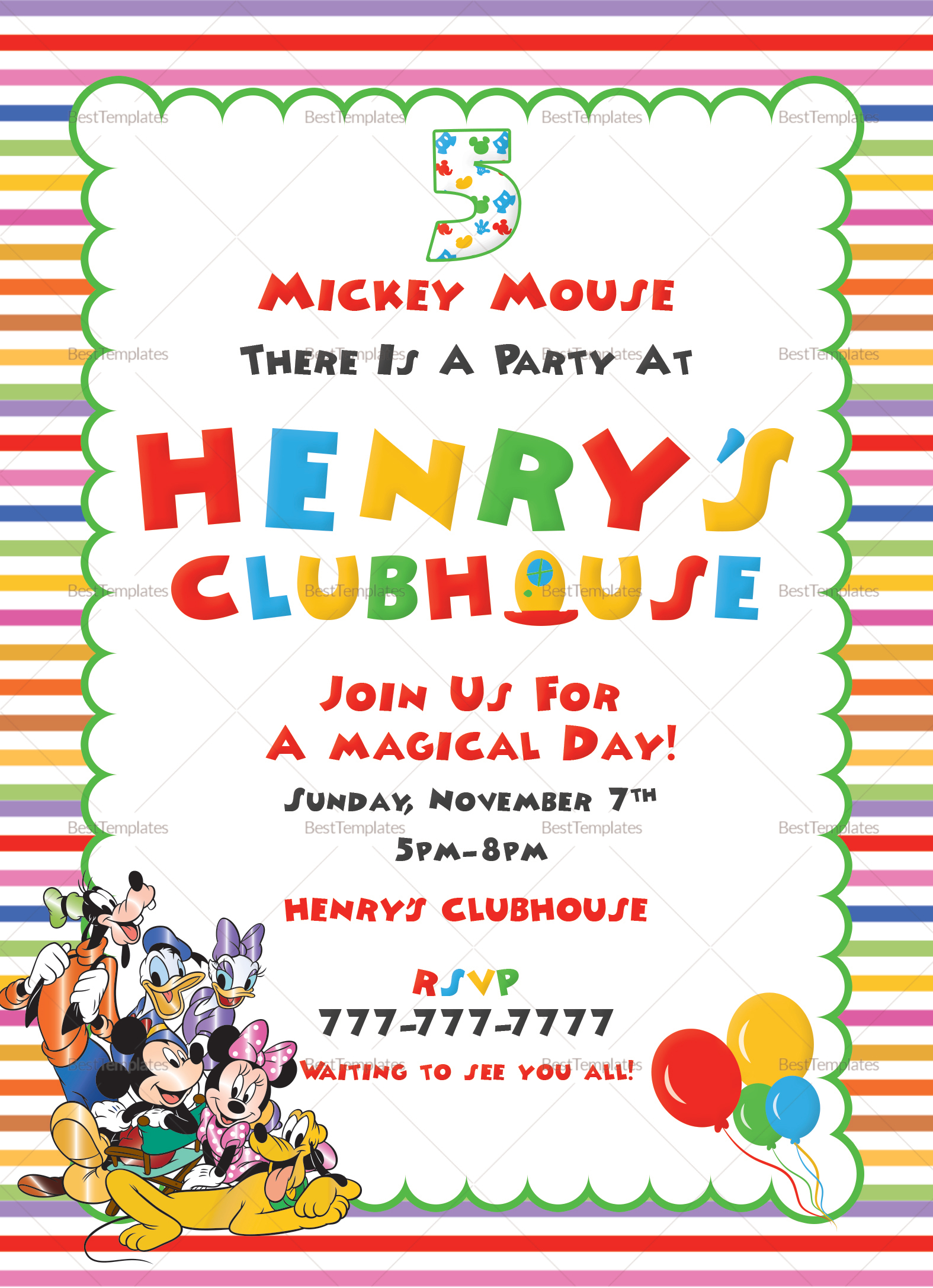 Mickey Mouse Clubhouse Birthday Invitation Design Template