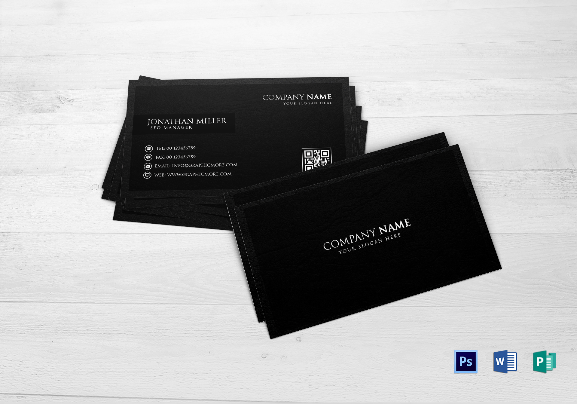 Black business card design template in word psd publisher black business card black business card template reheart Choice Image