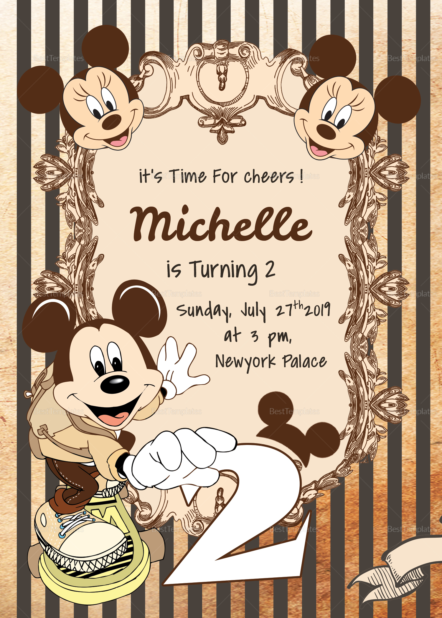 Elegant Mickey Mouse Birthday Invitation Card Template