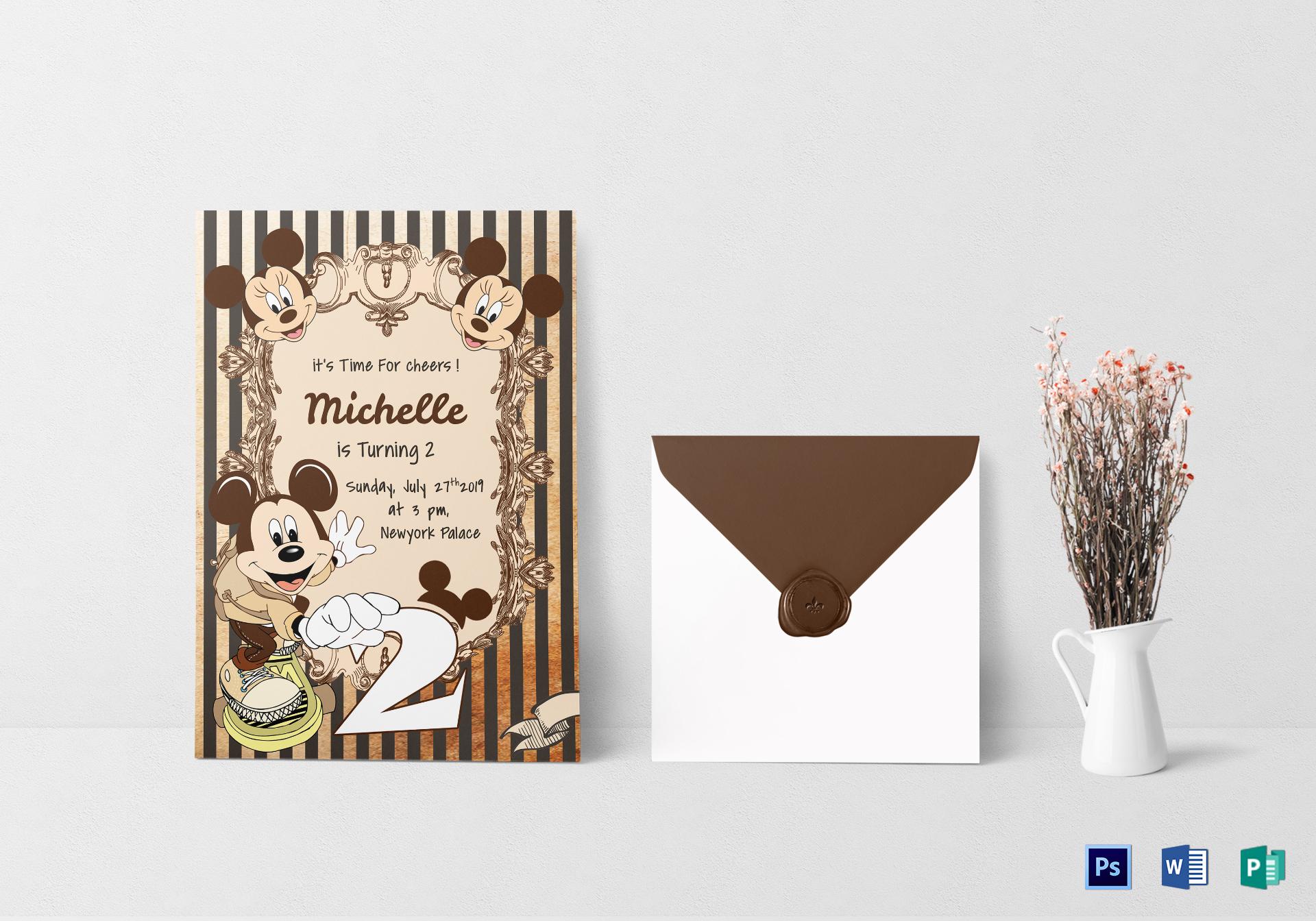 Elegant Mickey Mouse Birthday Invitation Card Design Template in ...