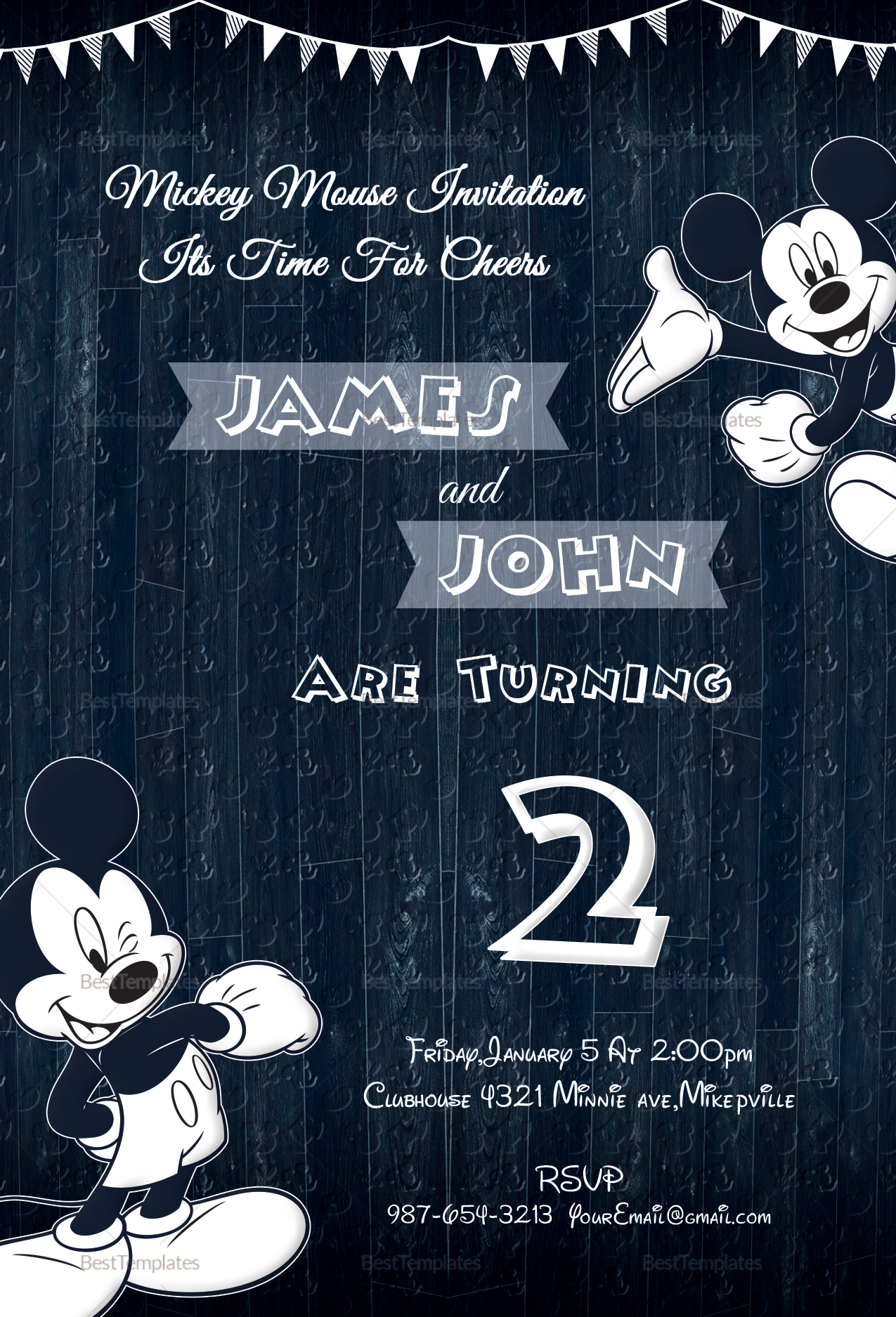 Wood Work Mickey Mouse Invitation Design Template