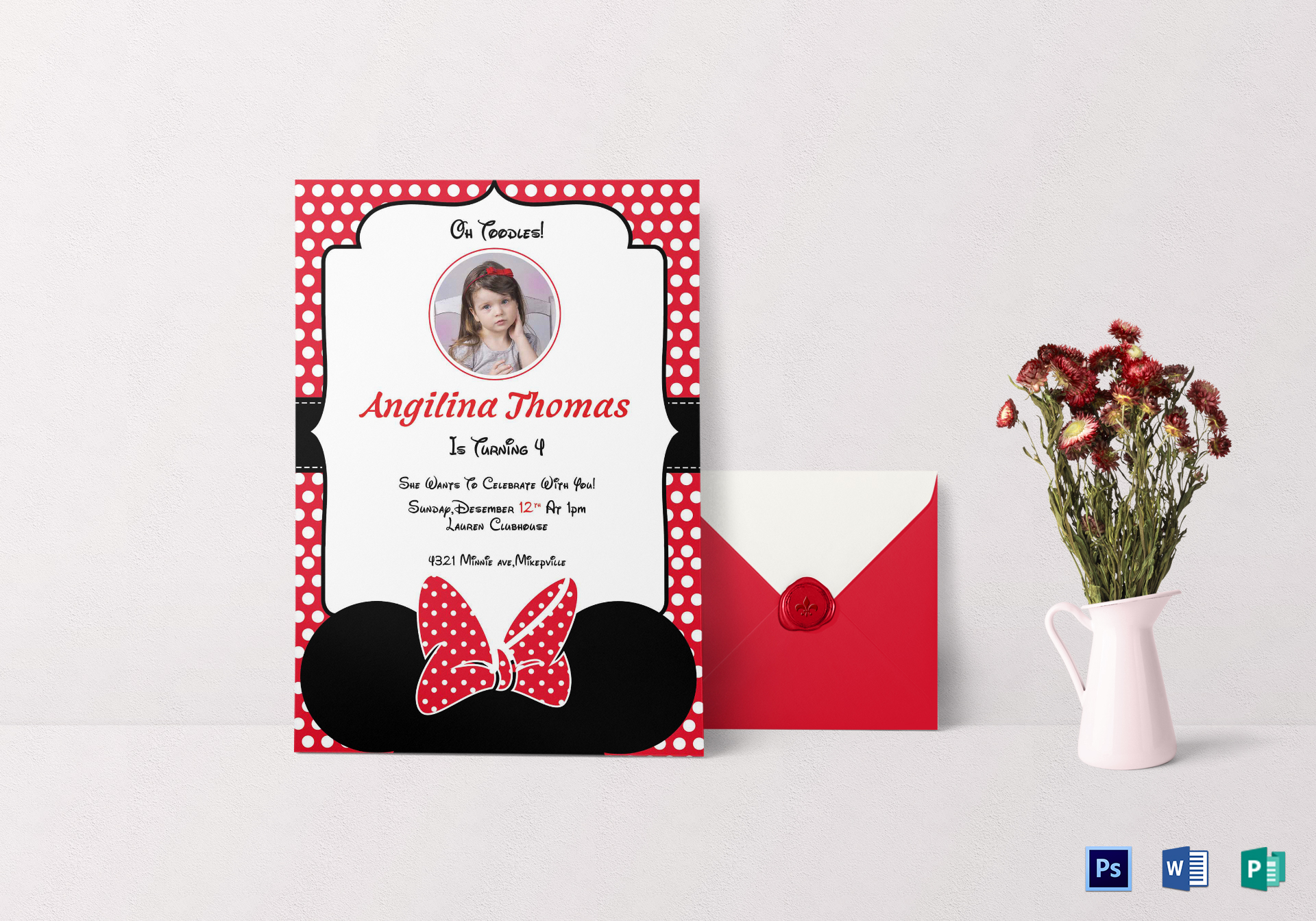 birthday minnie mouse invitation card design template in word psd