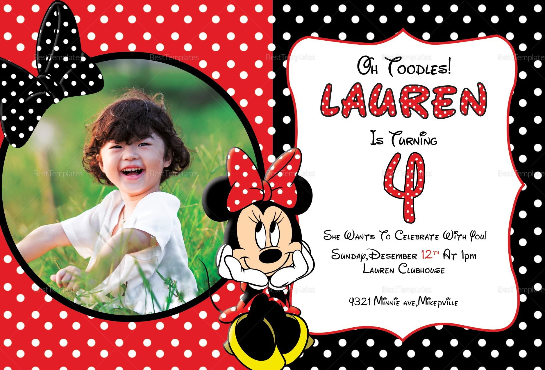 Minnie Mouse Photo Invitation Card Design Template