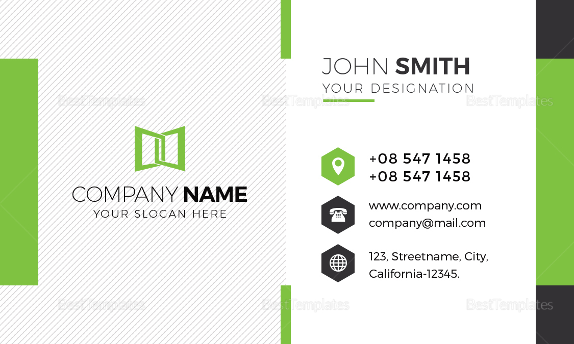 Green & White Business Card Template