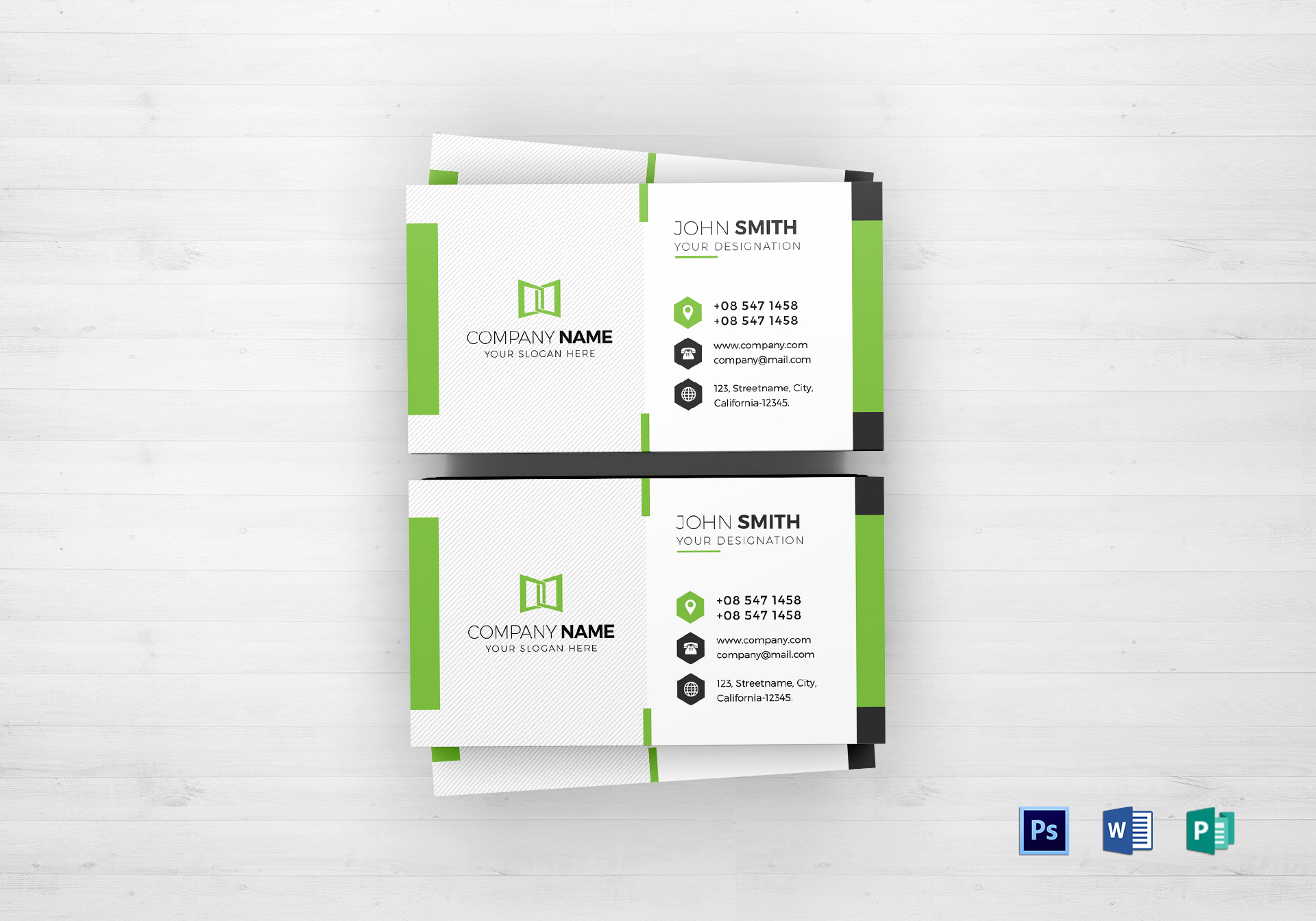 Green & White Business Card