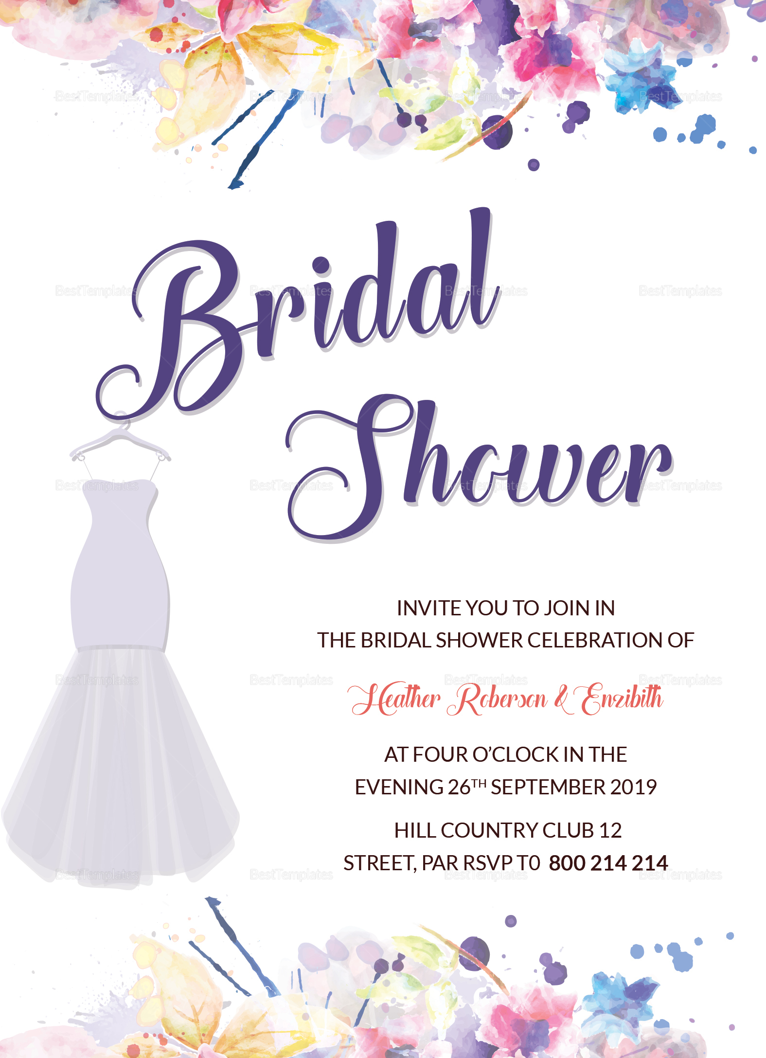autumn bridal shower invitation design template in word