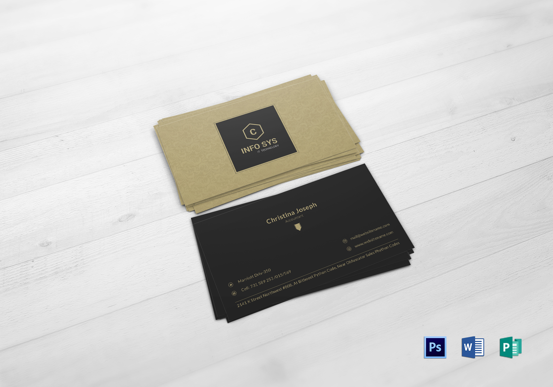 Accountant Business Card Design Template in PSD, Word, Publisher