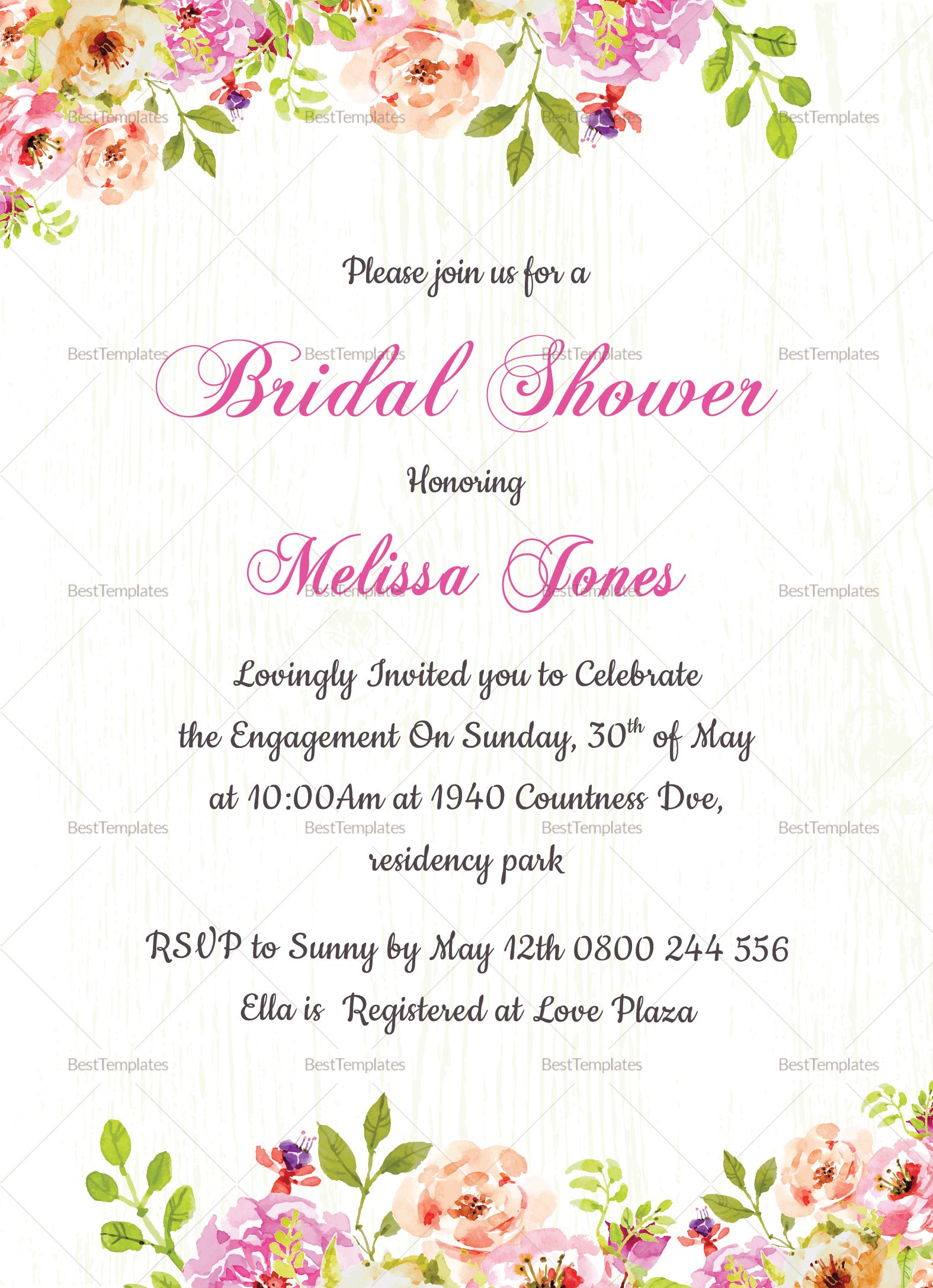 Floral Bridal Shower Invitation Design Template