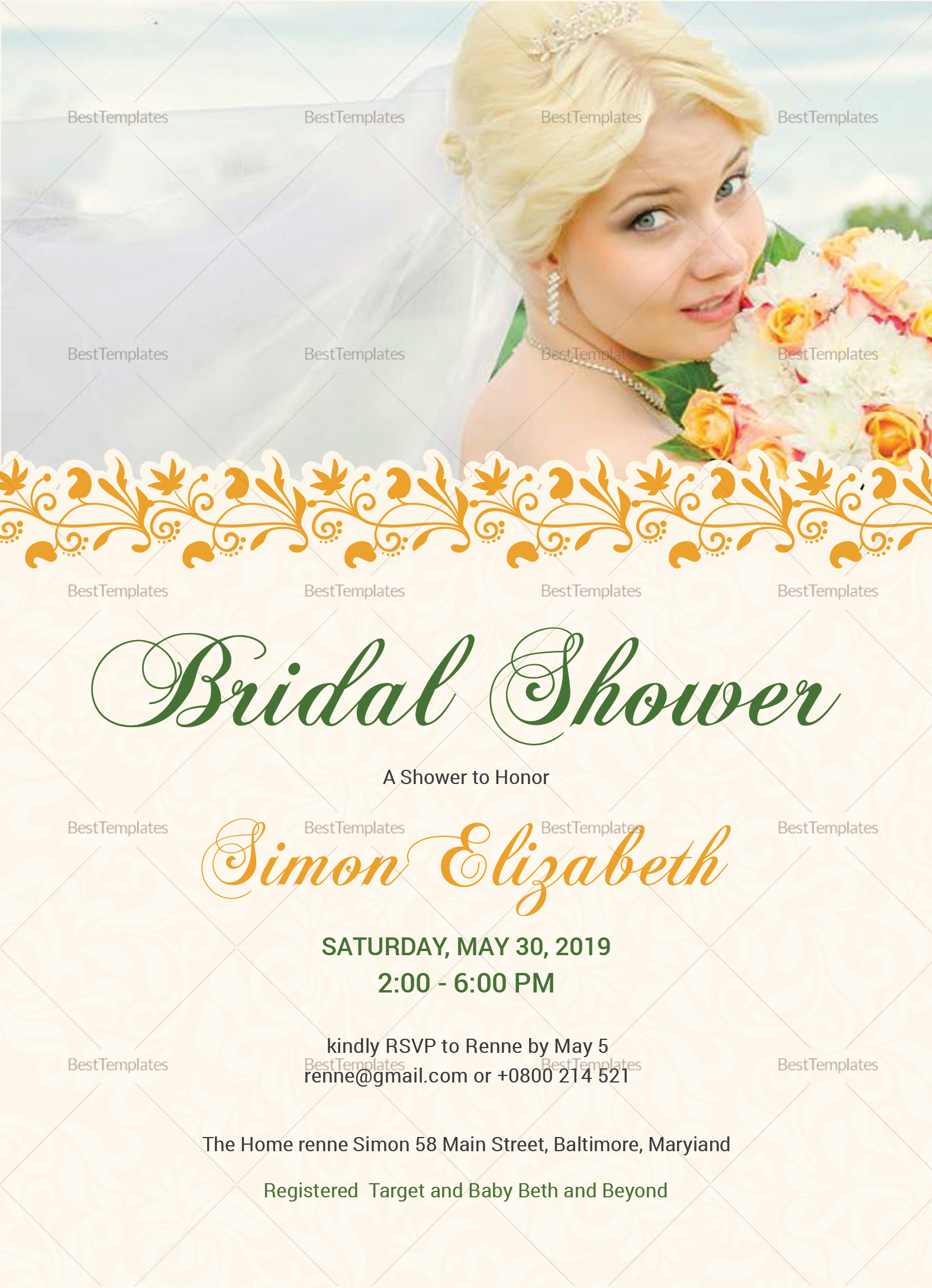 Bridal Shower Invitation Card Design Template