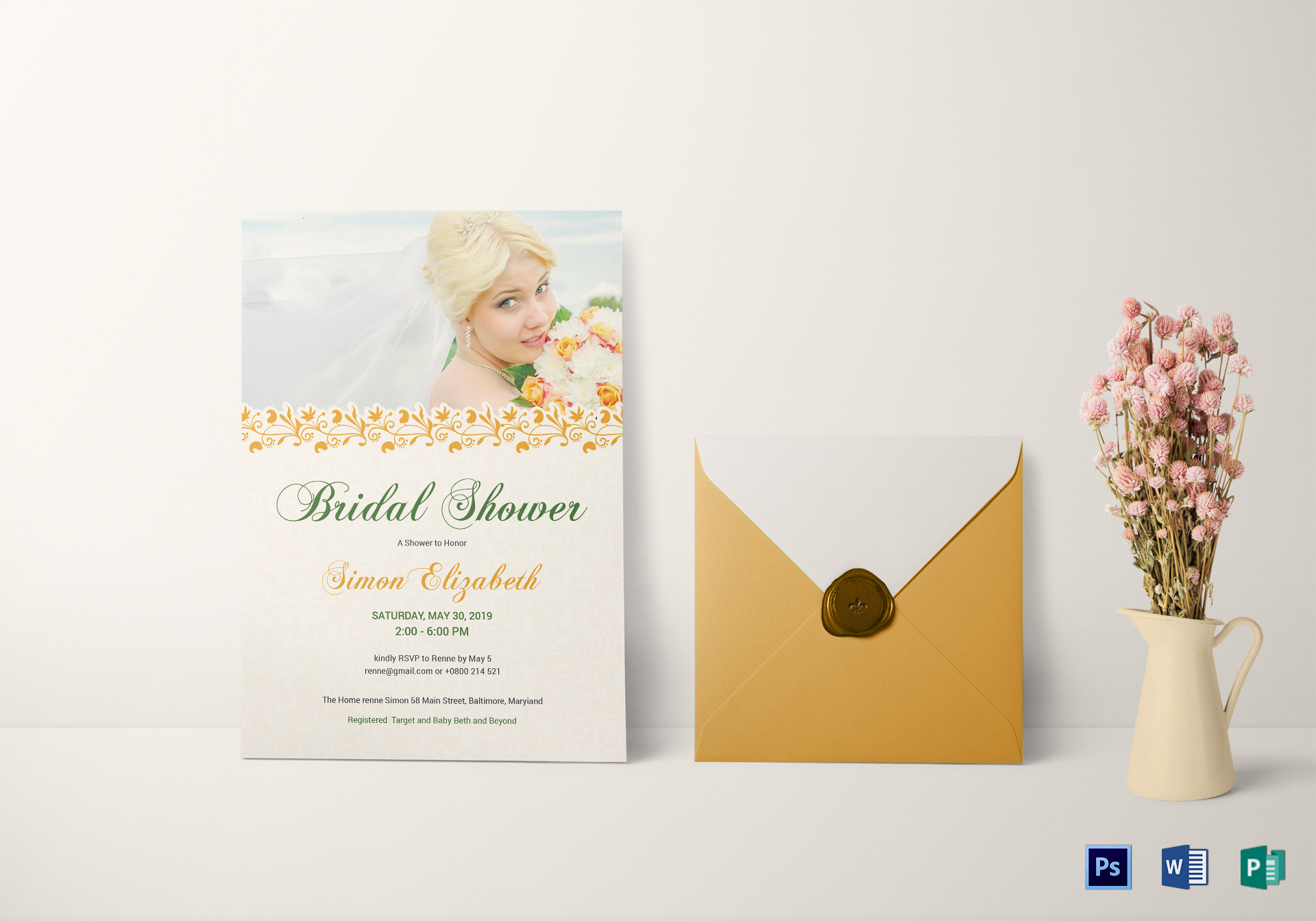 Classic Bridal Shower Invitation Card Template