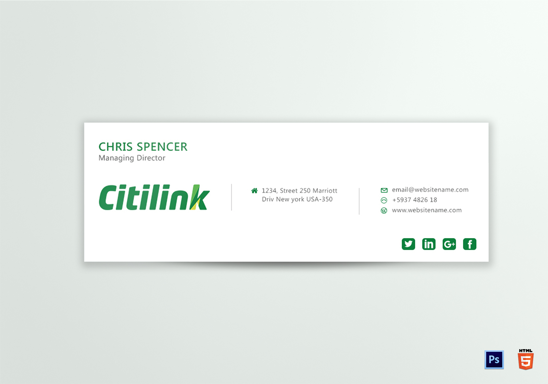 company email signature design template in psd  html