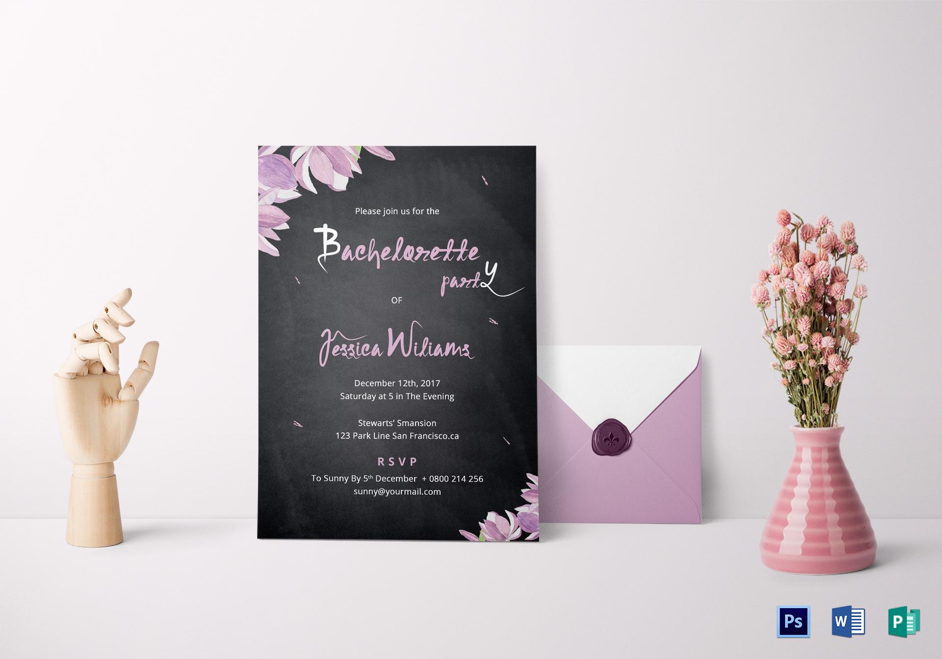 Chalkboard Bachelorette Party Invitation Template