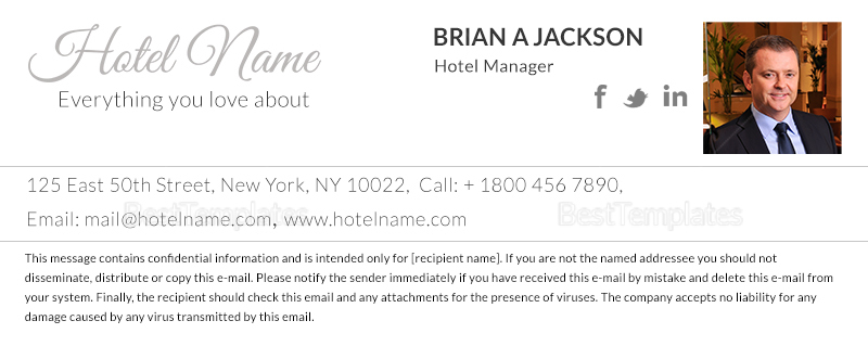 Hotel Travel Email Signature Template