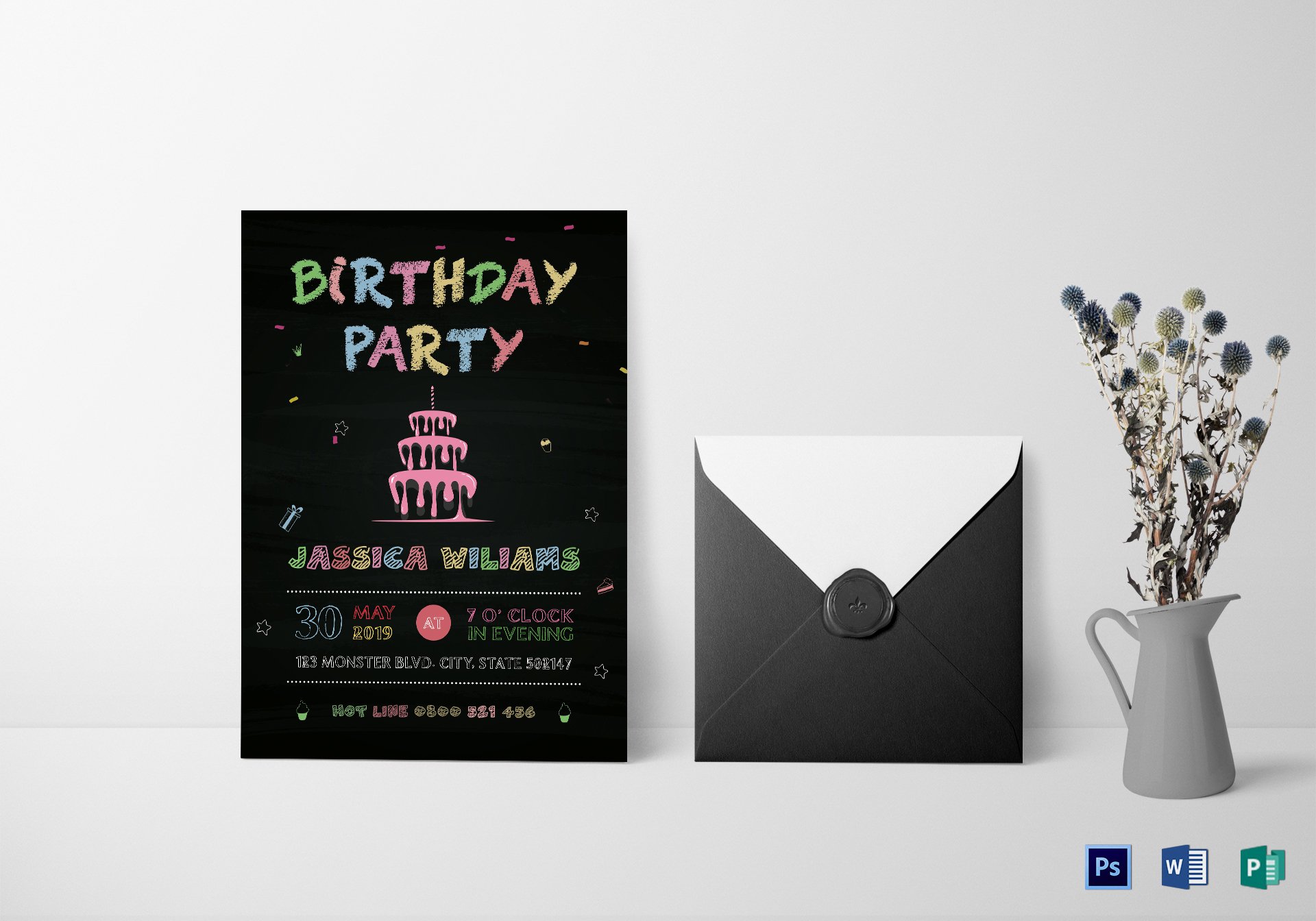 chalkboard birthday party invitation design template in word psd