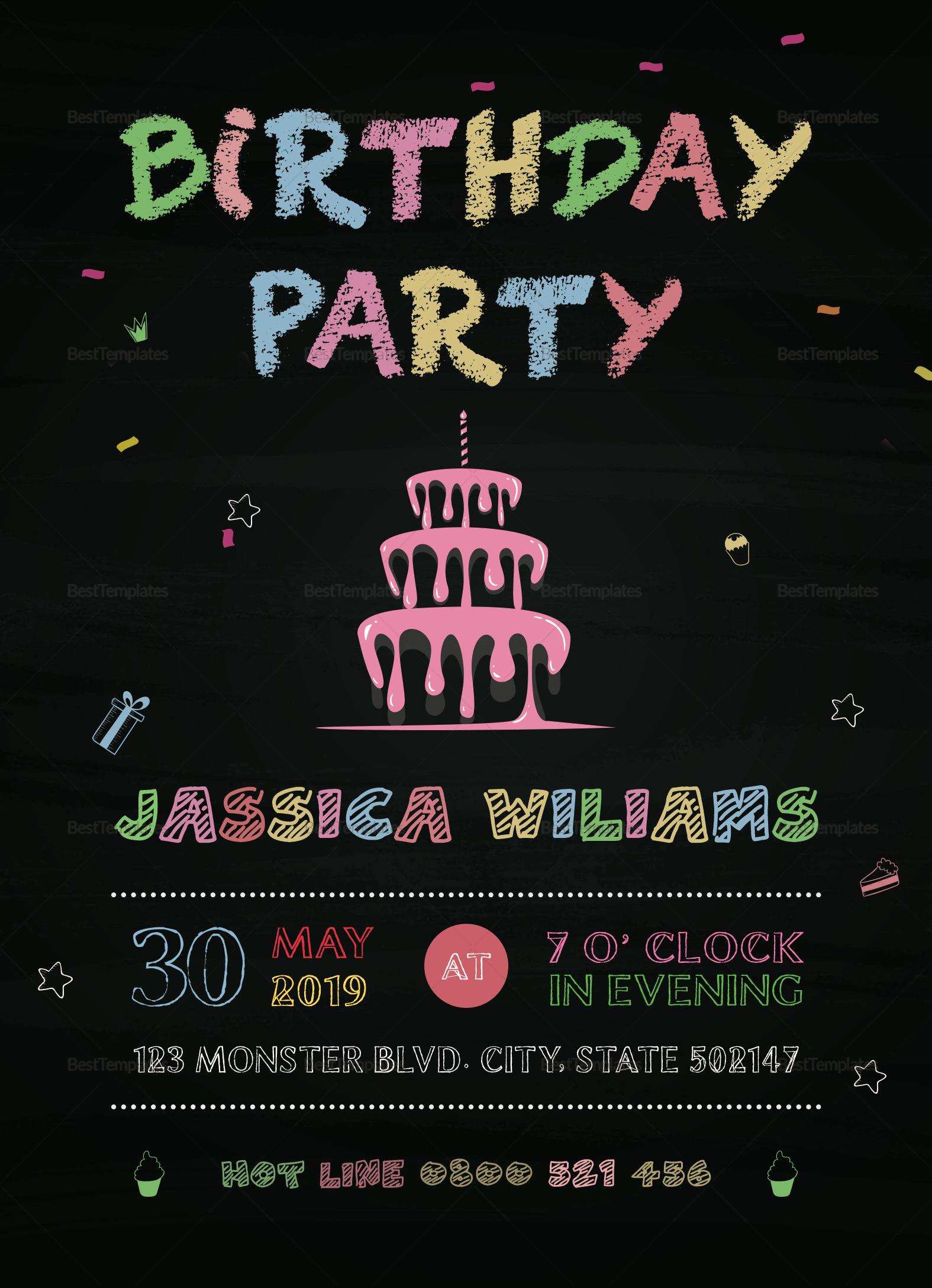 Chalkboard Birthday Party Invitation Template