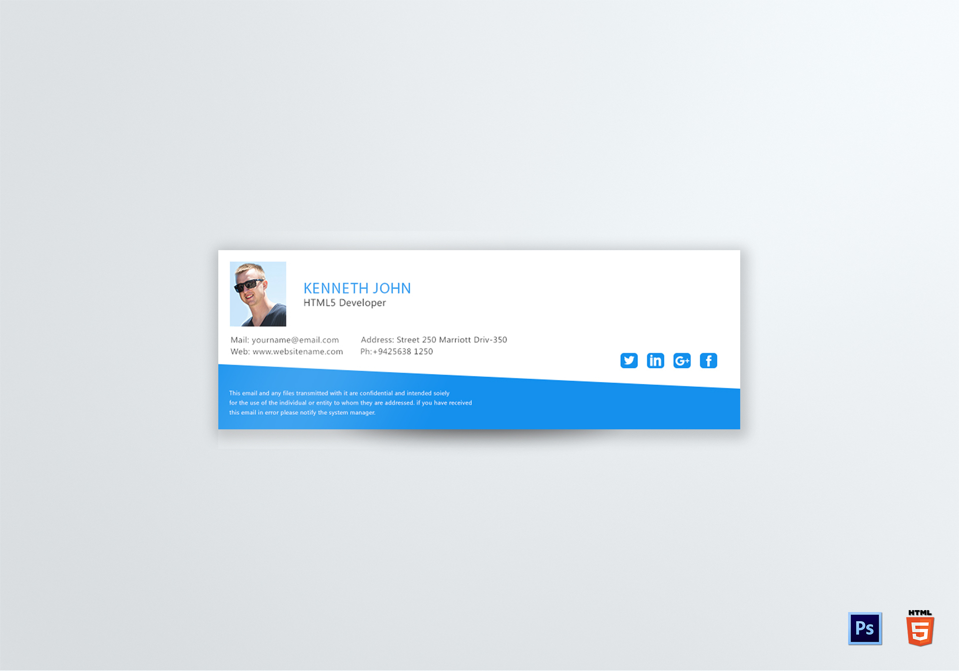 Html Developer Email Signature Template